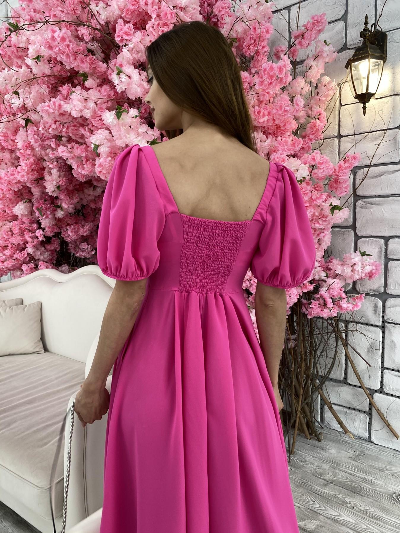 Кисес Миди платье из шифона креп 11443 АРТ. 48015 Цвет: Малиновый - фото 9, интернет магазин tm-modus.ru