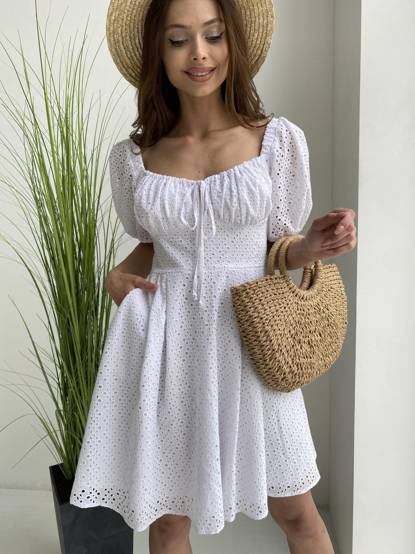 Кисес мини платье из прошвы 11439 АРТ. 48012 Цвет: Белый/МелЦветПерфор - фото 2, интернет магазин tm-modus.ru