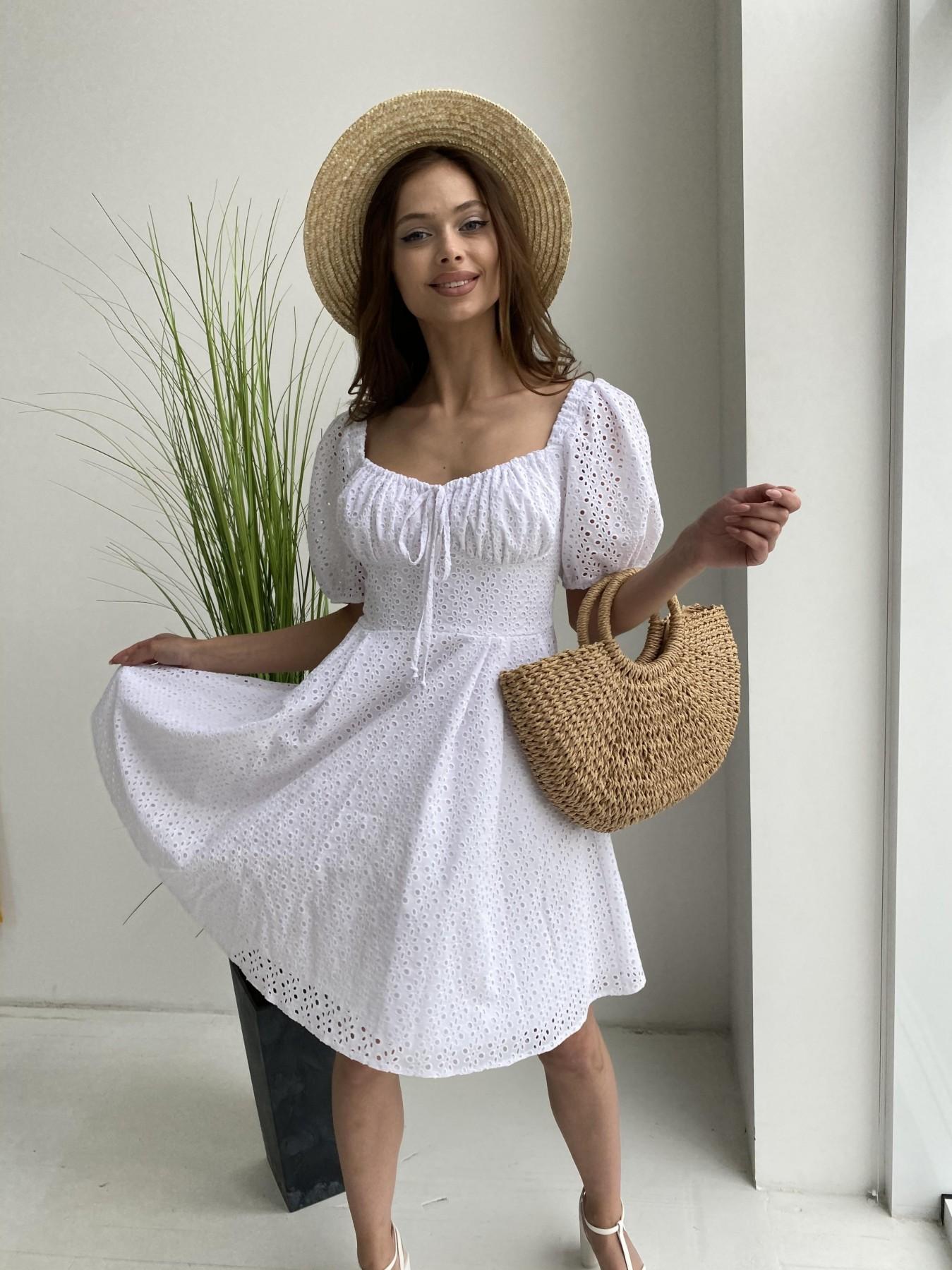 Кисес мини платье из прошвы 11439 АРТ. 48012 Цвет: Белый/МелЦветПерфор - фото 3, интернет магазин tm-modus.ru