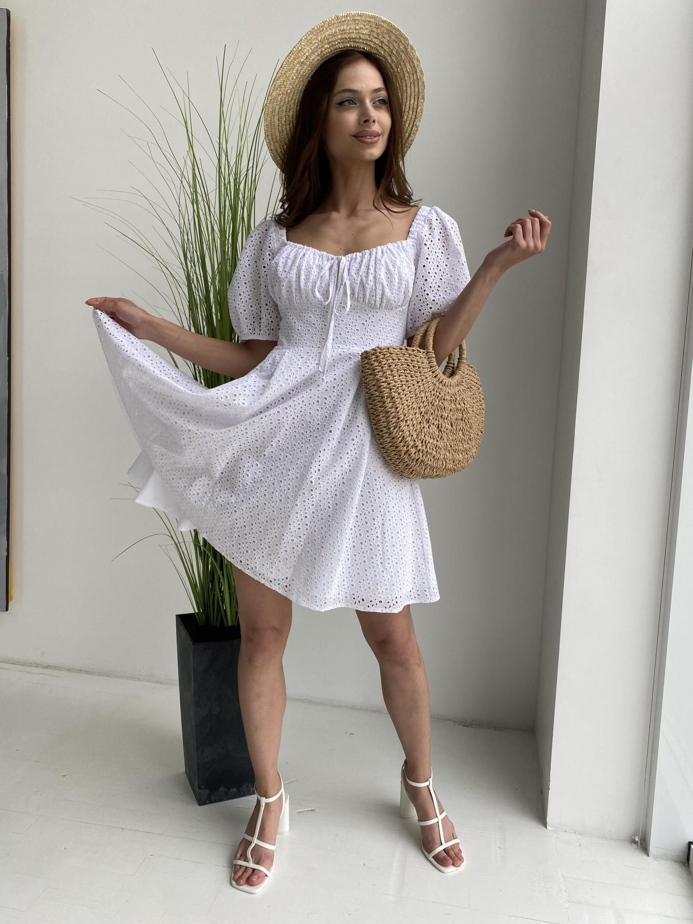 Кисес мини платье из прошвы 11439 АРТ. 48012 Цвет: Белый/МелЦветПерфор - фото 4, интернет магазин tm-modus.ru