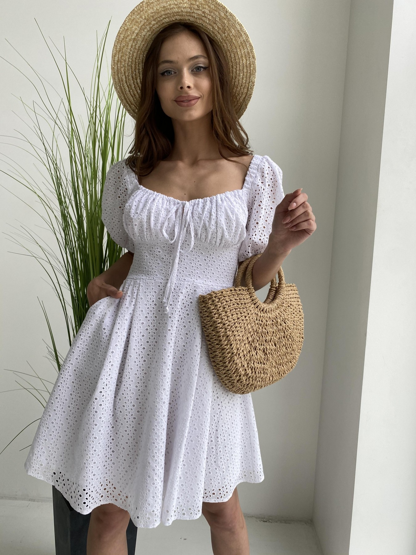 Кисес мини платье из прошвы 11439 АРТ. 48012 Цвет: Белый/МелЦветПерфор - фото 6, интернет магазин tm-modus.ru