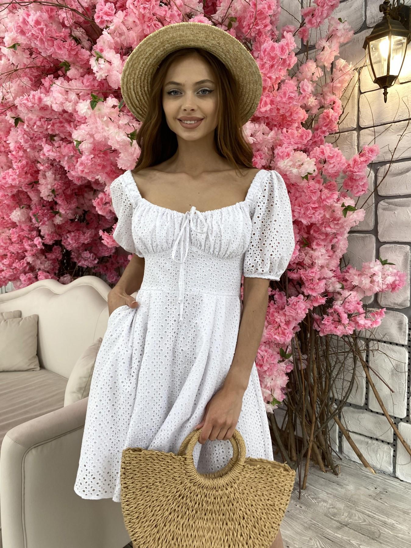 Кисес мини платье из прошвы 11439 АРТ. 48012 Цвет: Белый/МелЦветПерфор - фото 7, интернет магазин tm-modus.ru