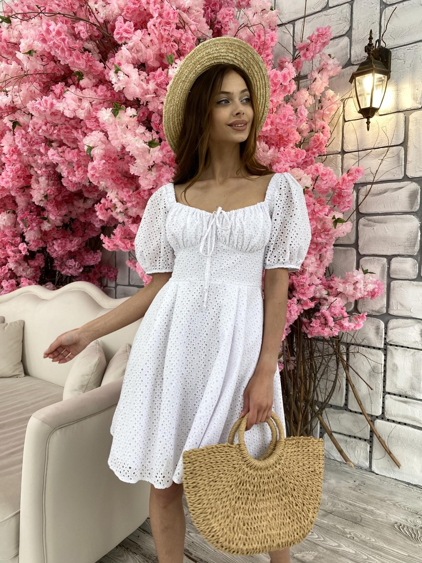 Кисес мини платье из прошвы 11439 АРТ. 48012 Цвет: Белый/МелЦветПерфор - фото 8, интернет магазин tm-modus.ru