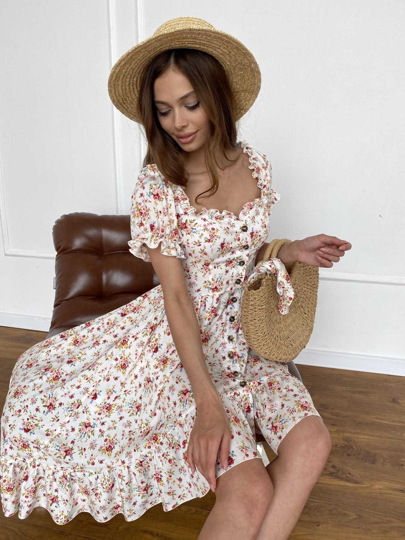 Нежность платье штапель принт 11420 АРТ. 47984 Цвет: Молоко/РозовыйБукет - фото 2, интернет магазин tm-modus.ru