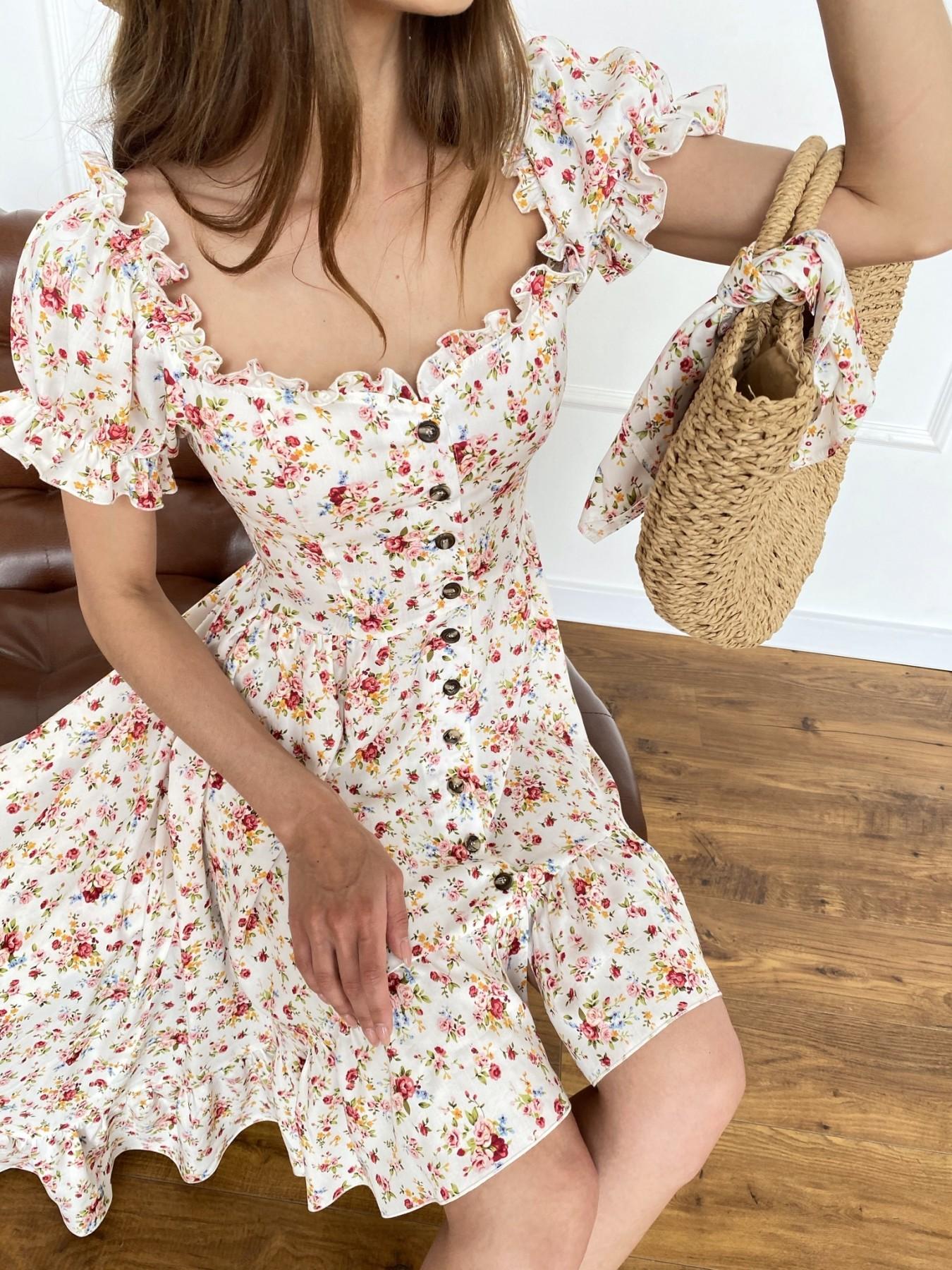 Нежность платье штапель принт 11420 АРТ. 47984 Цвет: Молоко/РозовыйБукет - фото 3, интернет магазин tm-modus.ru