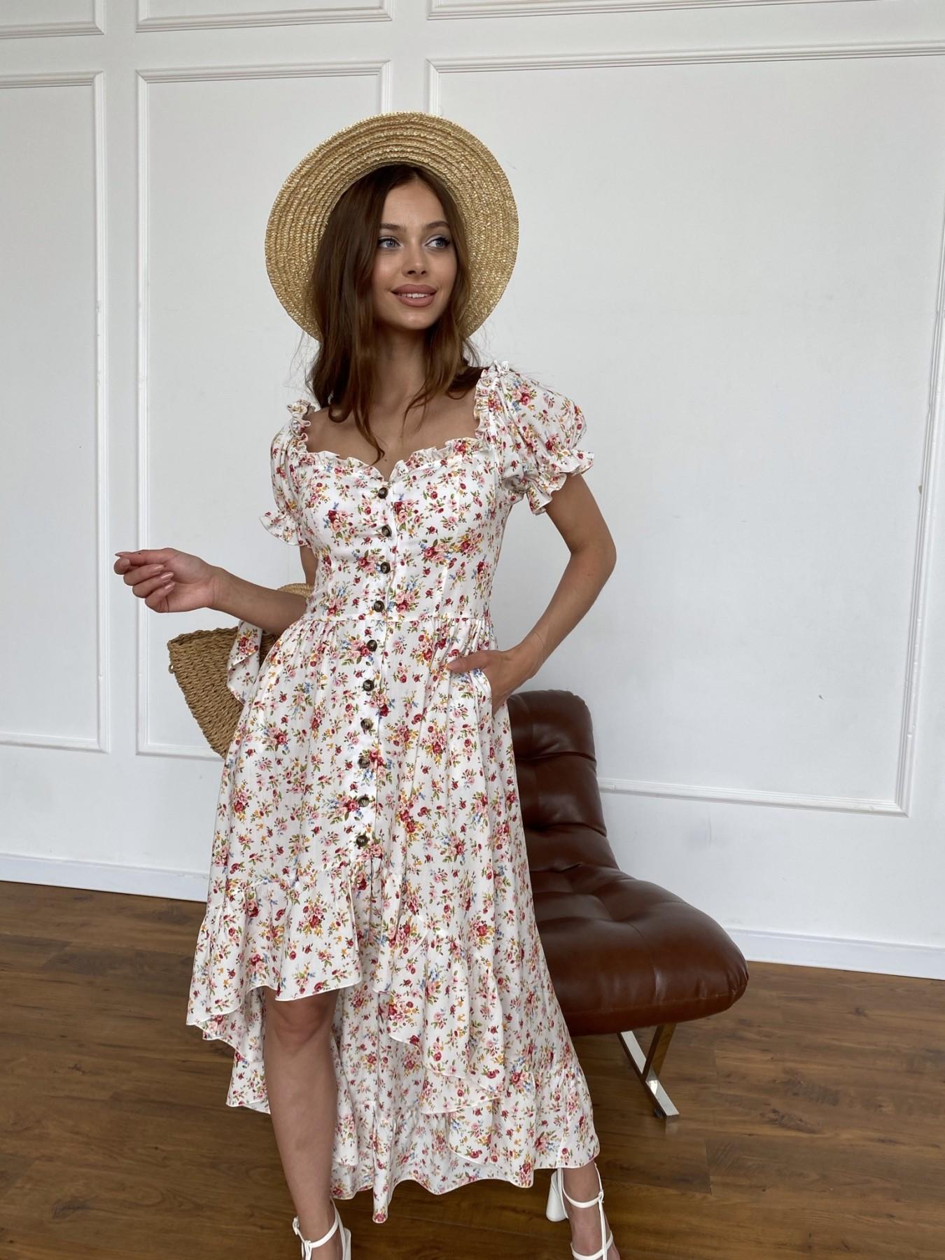 Нежность платье штапель принт 11420 АРТ. 47984 Цвет: Молоко/РозовыйБукет - фото 4, интернет магазин tm-modus.ru
