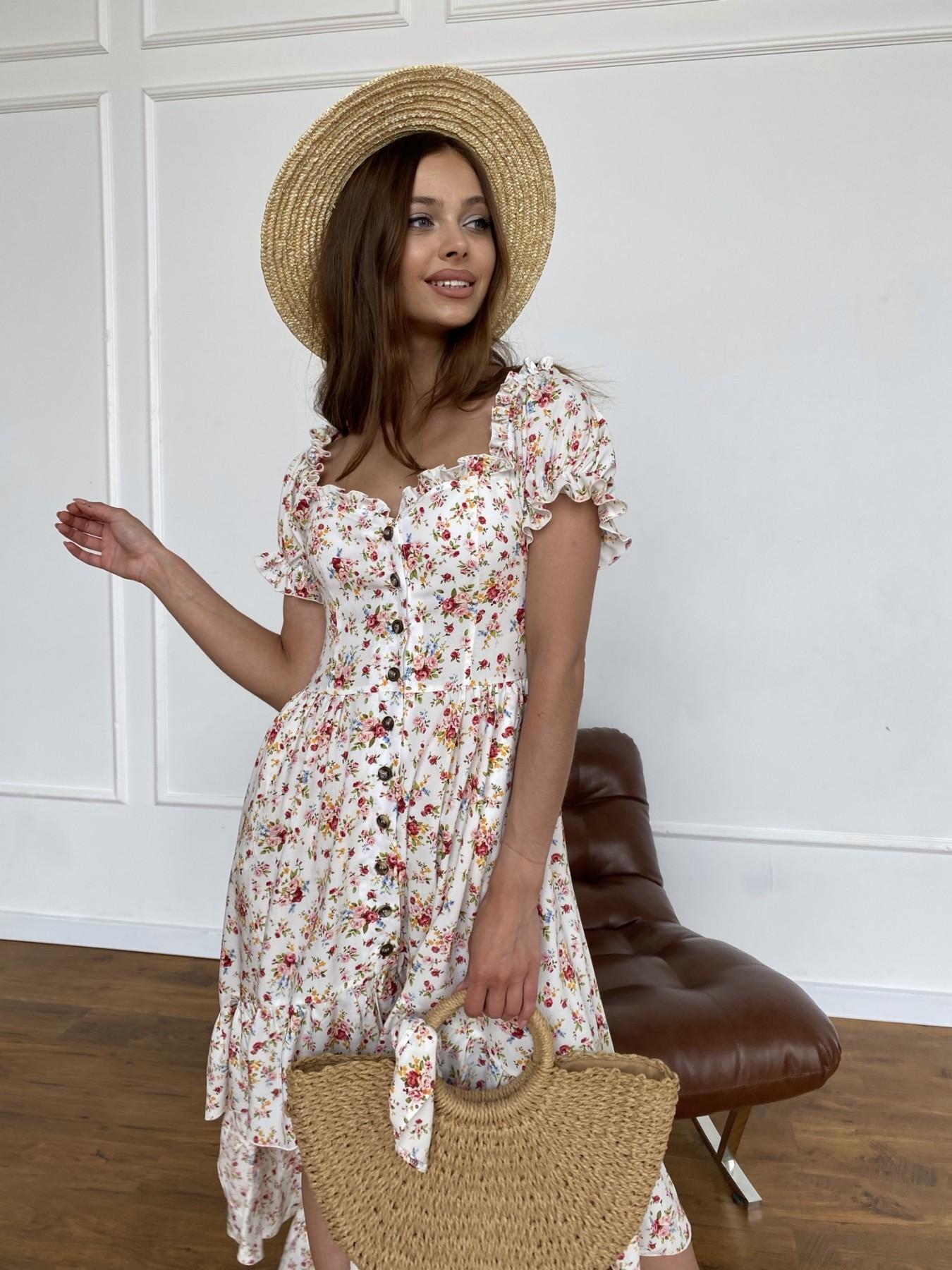 Нежность платье штапель принт 11420 АРТ. 47984 Цвет: Молоко/РозовыйБукет - фото 5, интернет магазин tm-modus.ru
