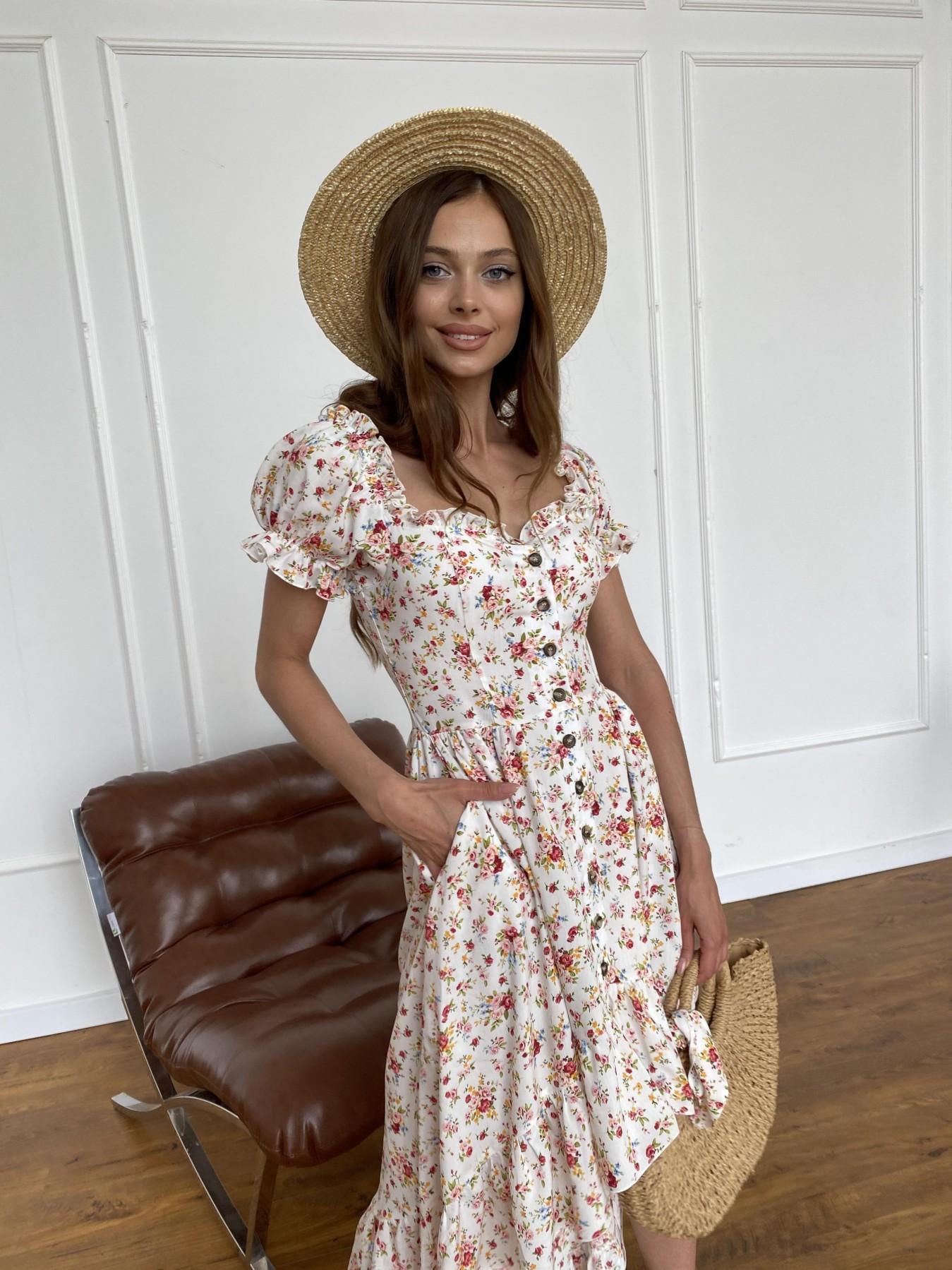 Нежность платье штапель принт 11420 АРТ. 47984 Цвет: Молоко/РозовыйБукет - фото 6, интернет магазин tm-modus.ru