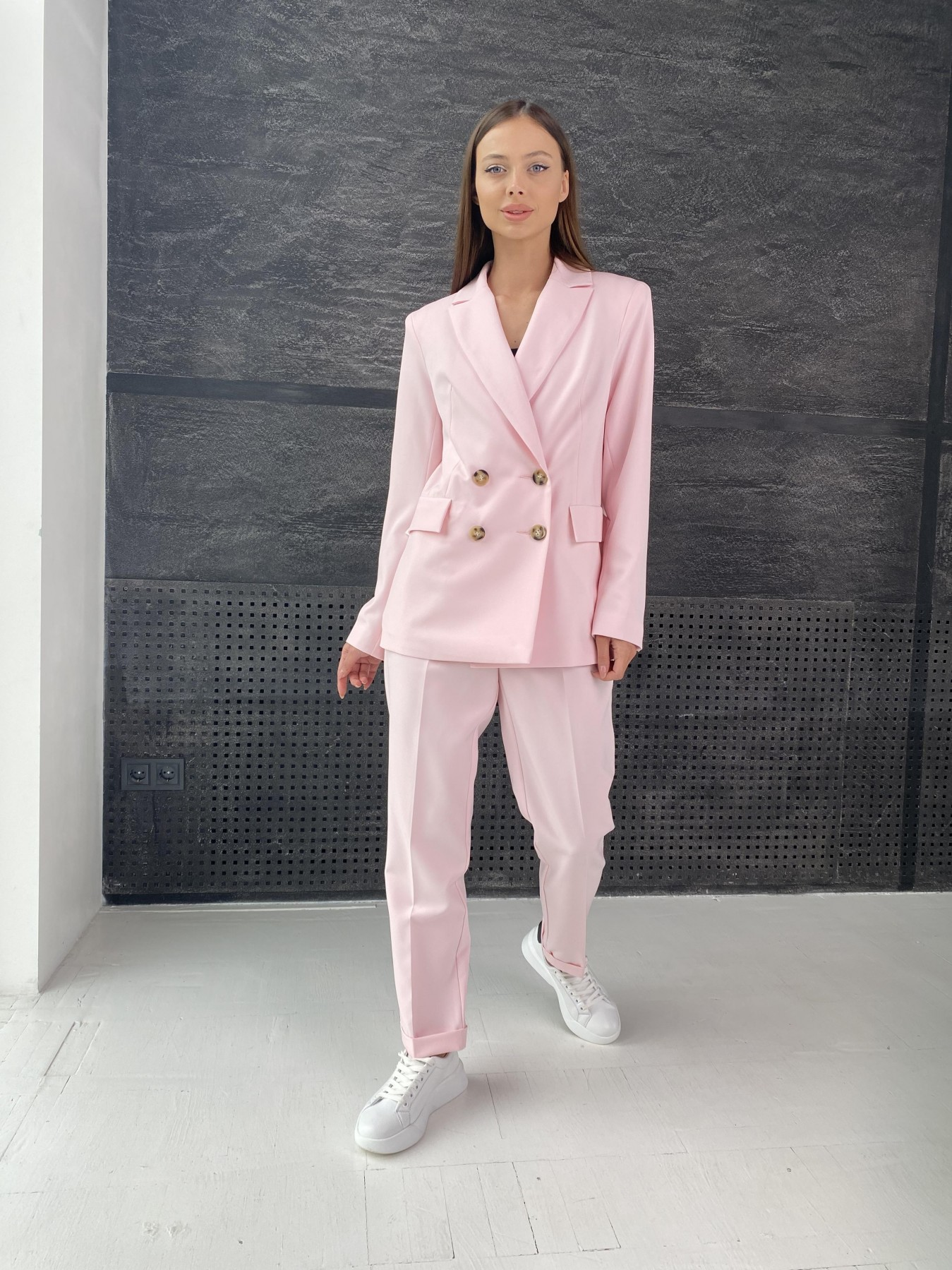 Франко костюм стрейчевый из костюмной ткани 11090 АРТ. 47977 Цвет: Розовый - фото 1, интернет магазин tm-modus.ru
