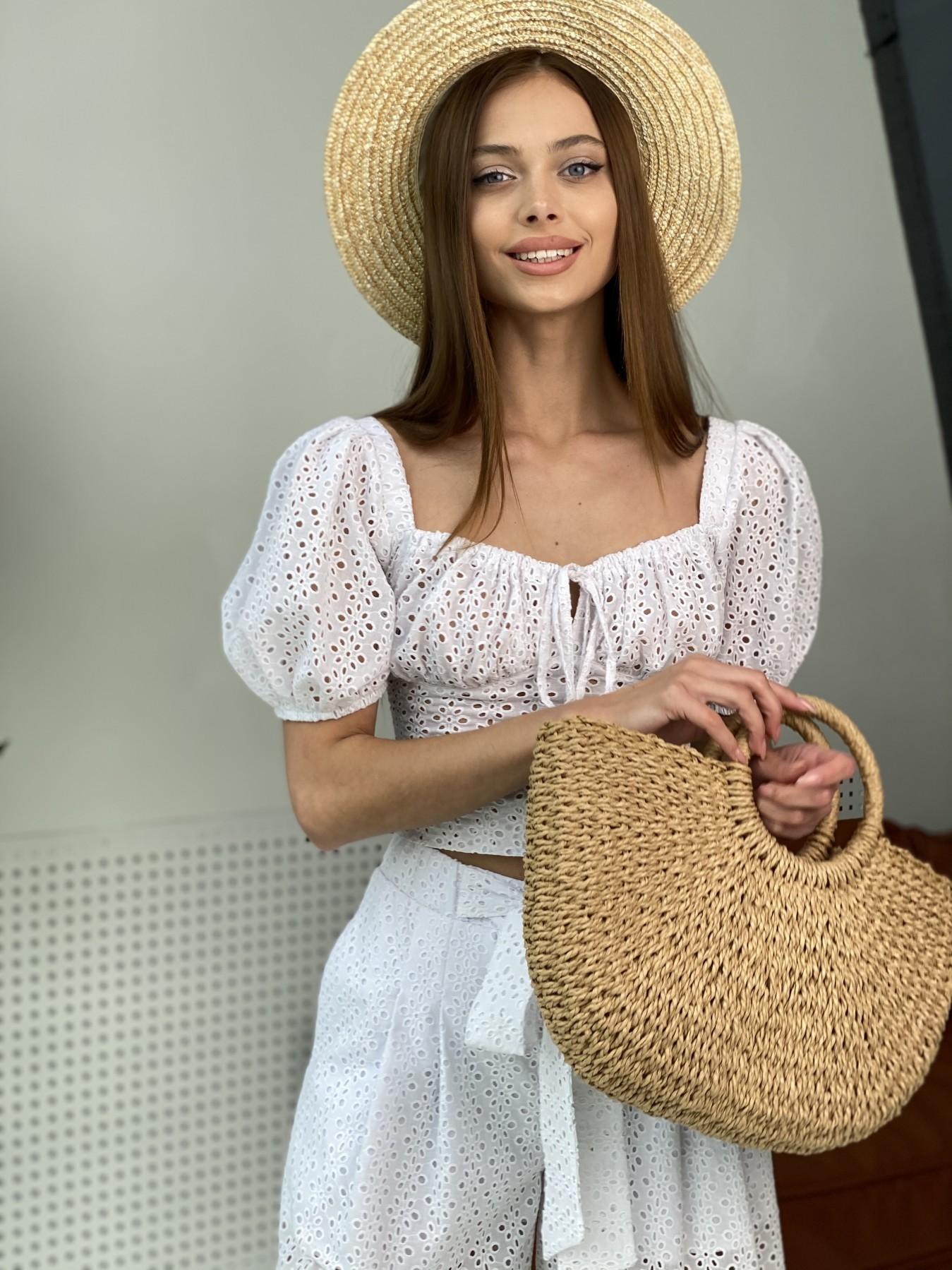 Лагуна  прогулочный костюм из прошвы 11294 АРТ. 48004 Цвет: Белый/МелЦветПерфор - фото 7, интернет магазин tm-modus.ru