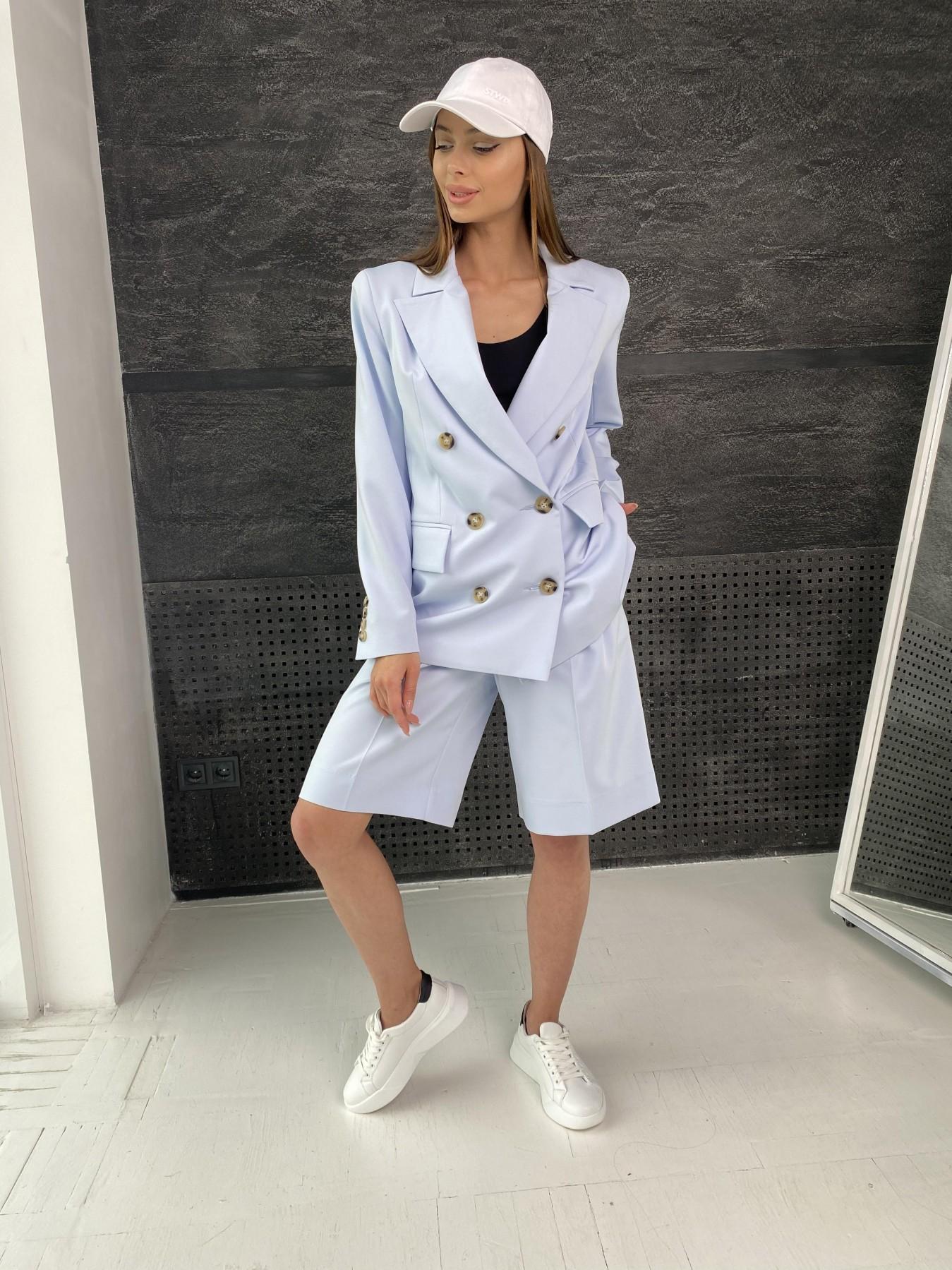 Бонжур шорты из  костюмной ткани стрейч 11403 АРТ. 47952 Цвет: Голубой - фото 3, интернет магазин tm-modus.ru