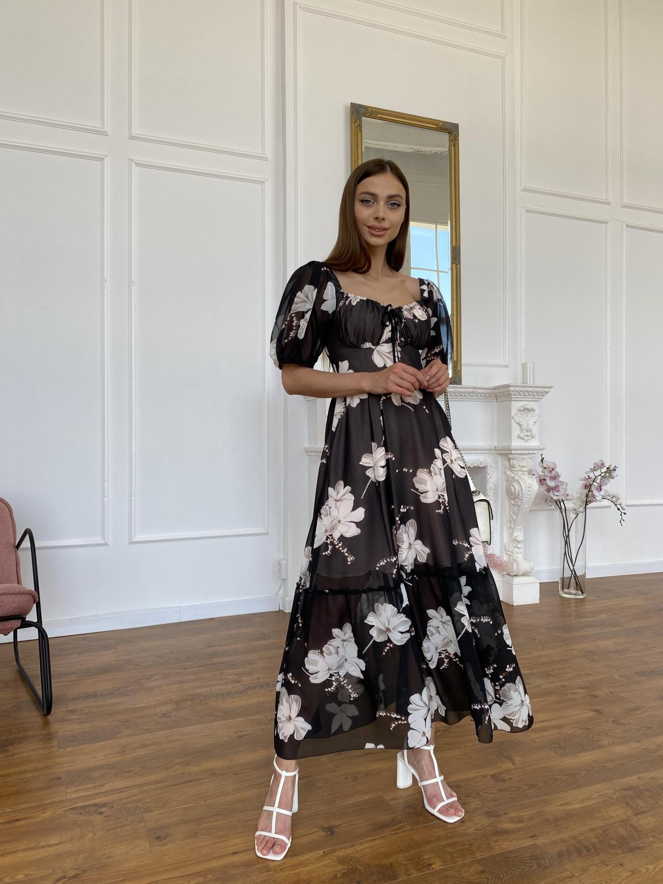 Лоретта платье из шифона в принт 11468 АРТ. 48054 Цвет: Черный/КрупБежевЦветок - фото 9, интернет магазин tm-modus.ru