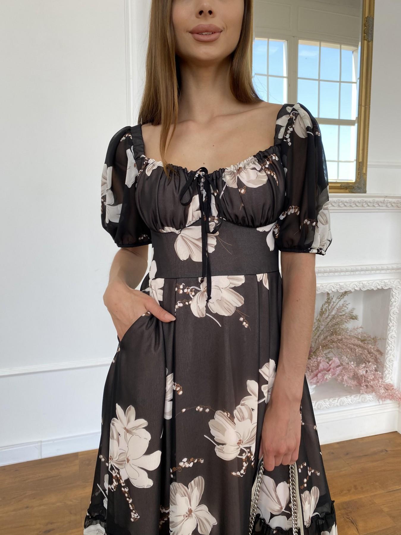 Лоретта платье из шифона в принт 11468 АРТ. 48054 Цвет: Черный/КрупБежевЦветок - фото 10, интернет магазин tm-modus.ru