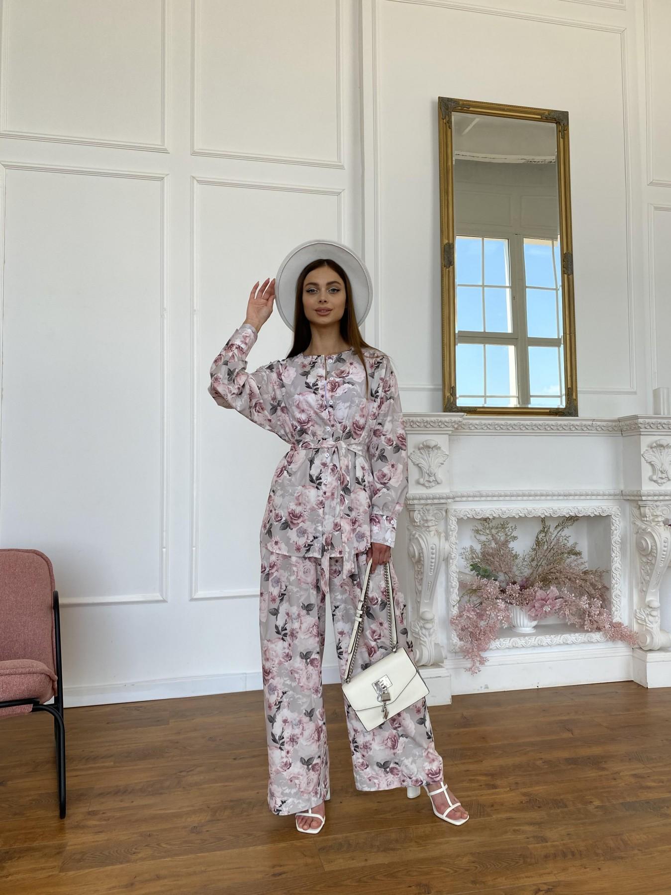 Колибри костюм софт с принтом 11244 АРТ. 48017 Цвет: Бежевый серый/РозовРозы - фото 2, интернет магазин tm-modus.ru