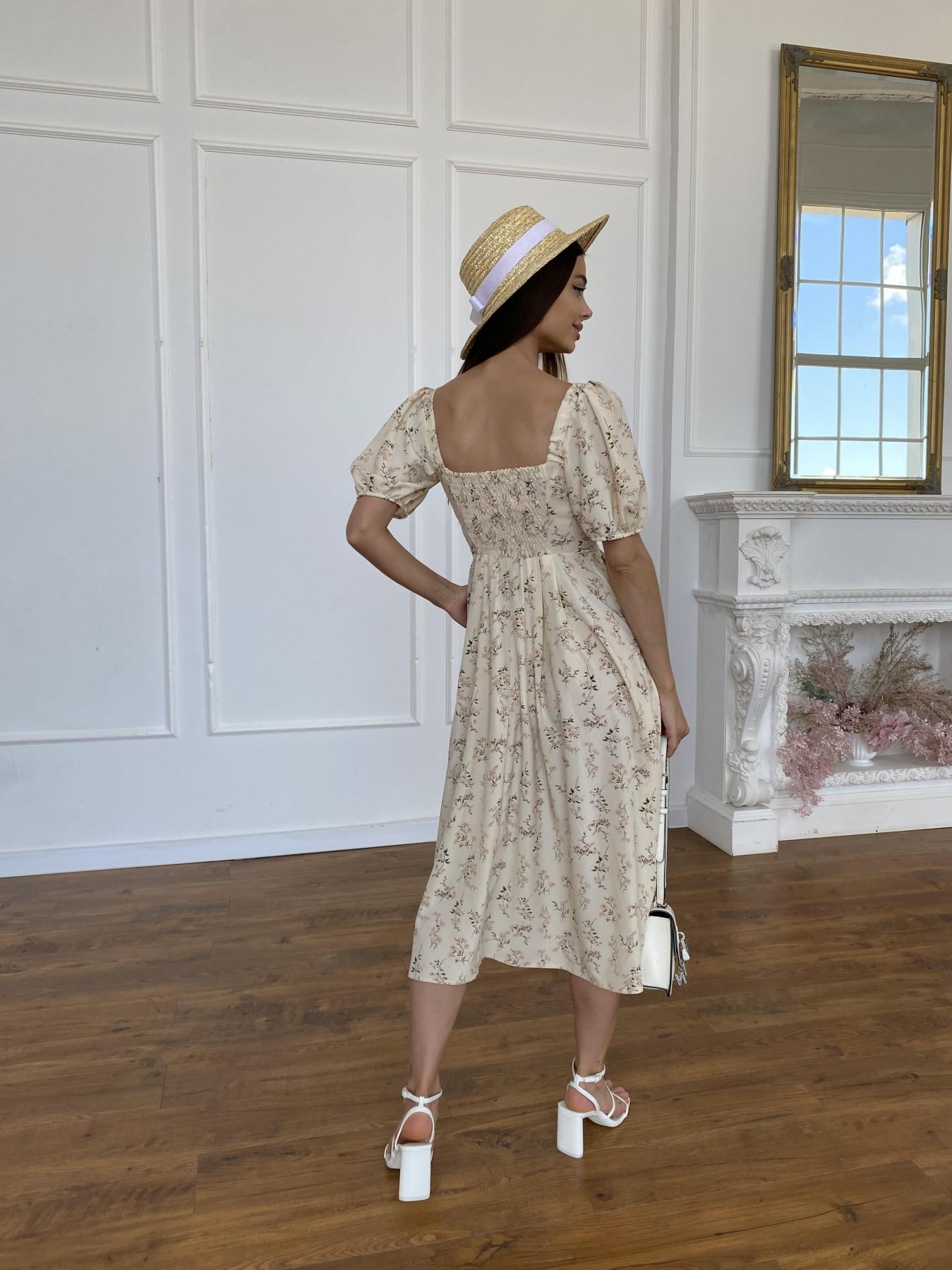 Кисес Миди платье из софт ткани в принт 11348 Цвет: Бежевый св/РозовыеБукетики