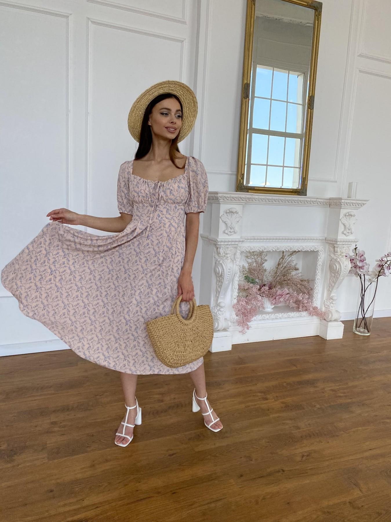 Кисес Миди платье из софт ткани в принт 11348 Цвет: Пудра/ландыш