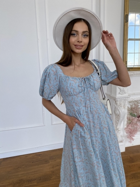 """Купить """"Кисес Миди"""" платье из софт ткани в принт 11348 оптом и в розницу"""