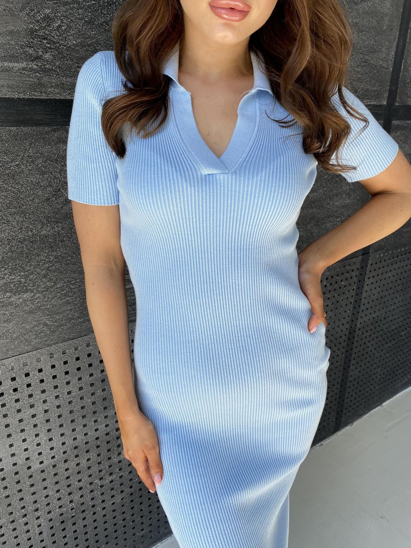 Платье воротник 91688 АРТ. 48067 Цвет: Голубой меланж - фото 6, интернет магазин tm-modus.ru