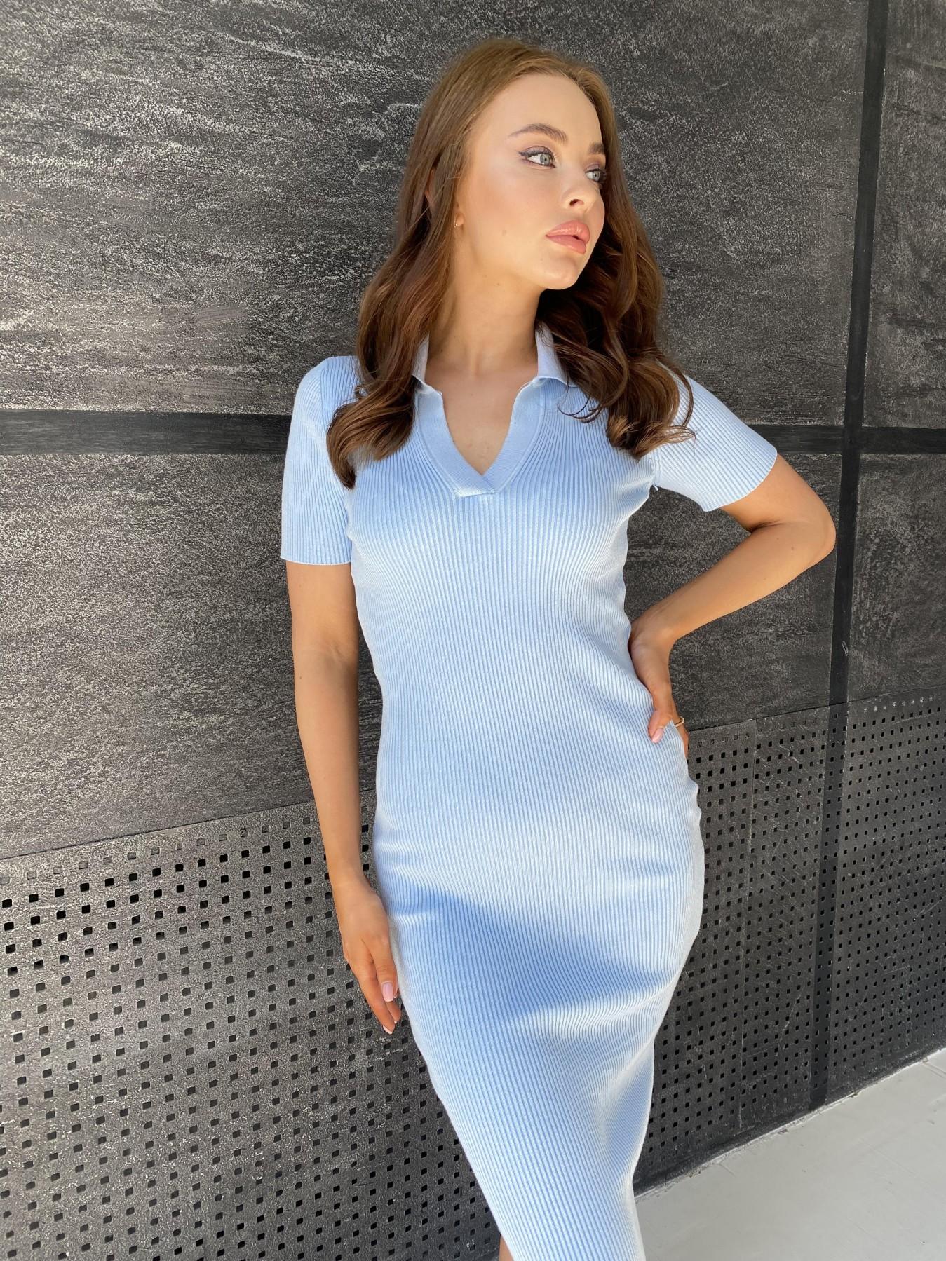 Платье воротник 91688 АРТ. 48067 Цвет: Голубой меланж - фото 7, интернет магазин tm-modus.ru