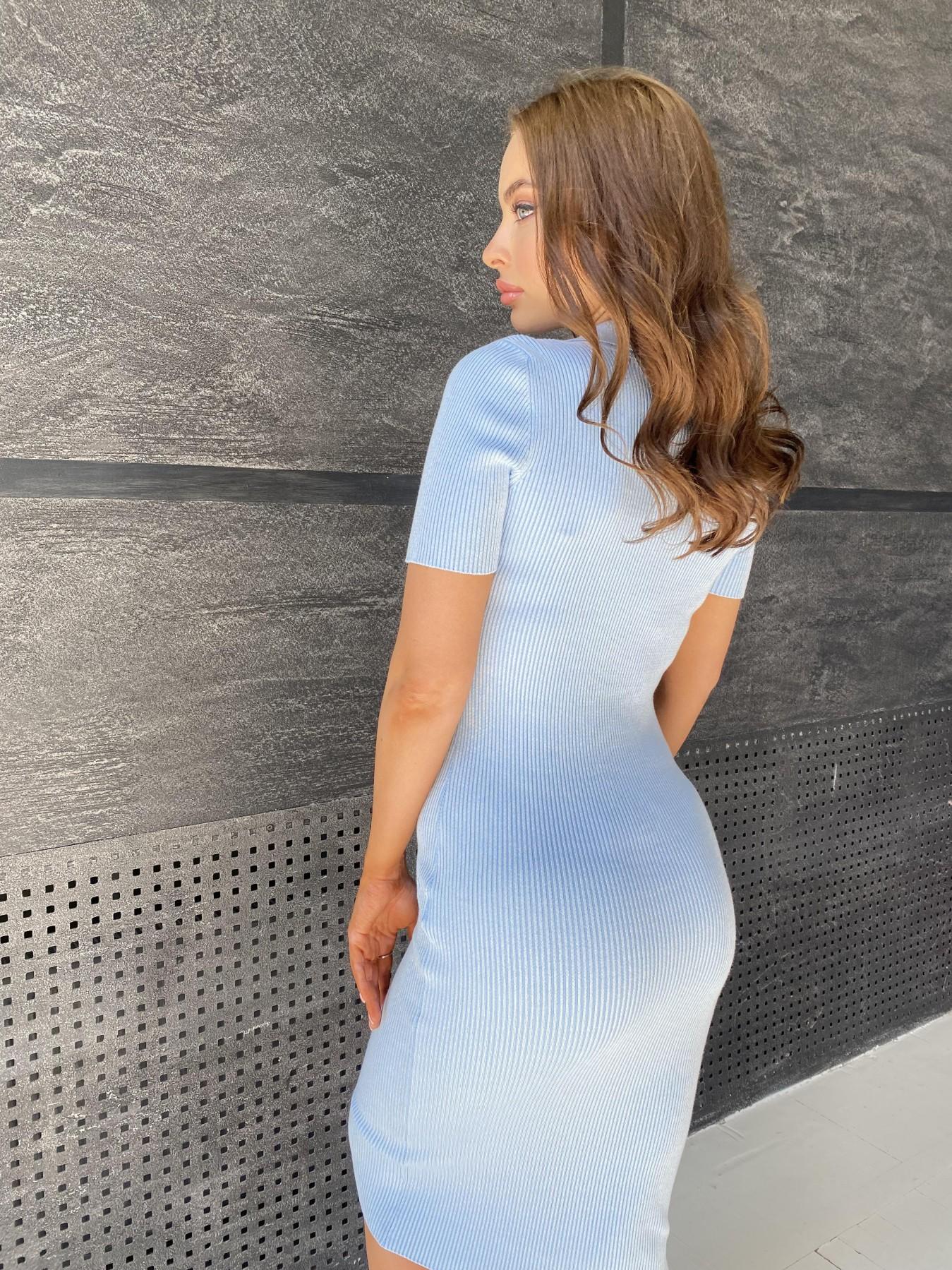 Платье воротник 91688 АРТ. 48067 Цвет: Голубой меланж - фото 2, интернет магазин tm-modus.ru
