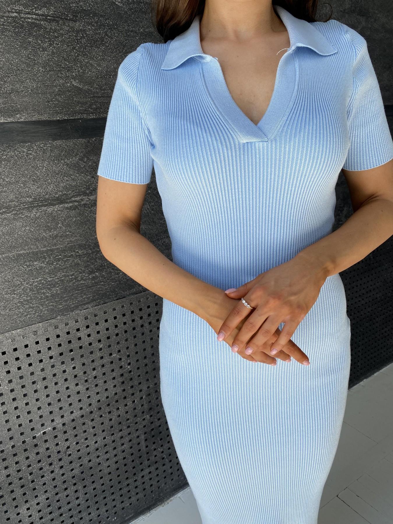 Платье воротник 91688 АРТ. 48067 Цвет: Голубой меланж - фото 5, интернет магазин tm-modus.ru