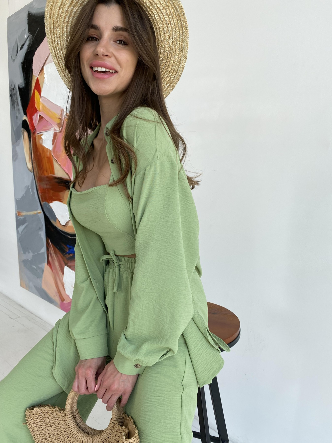 Квадро костюм американский из ткани креп (4 ед) 11303 АРТ. 48104 Цвет: олива яркая - фото 4, интернет магазин tm-modus.ru