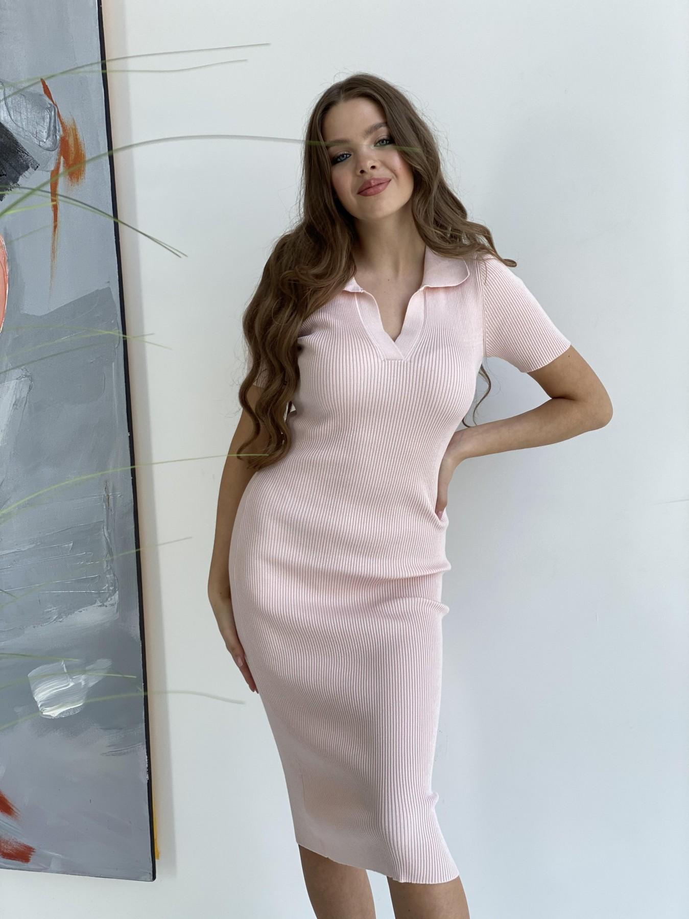 Платье воротник 91688 АРТ. 48070 Цвет: Пудра 2 - фото 3, интернет магазин tm-modus.ru