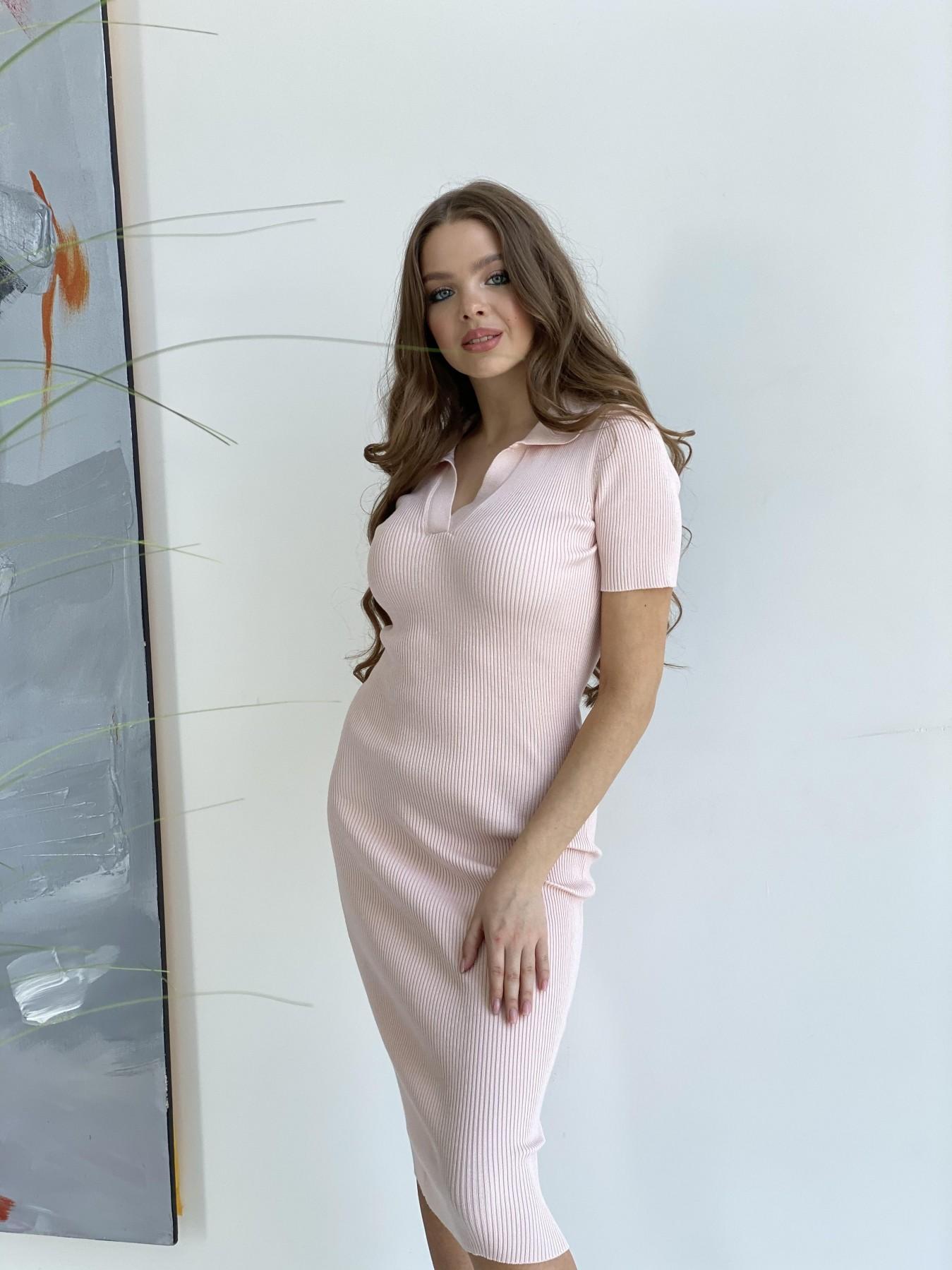 Платье воротник 91688 АРТ. 48070 Цвет: Пудра 2 - фото 4, интернет магазин tm-modus.ru