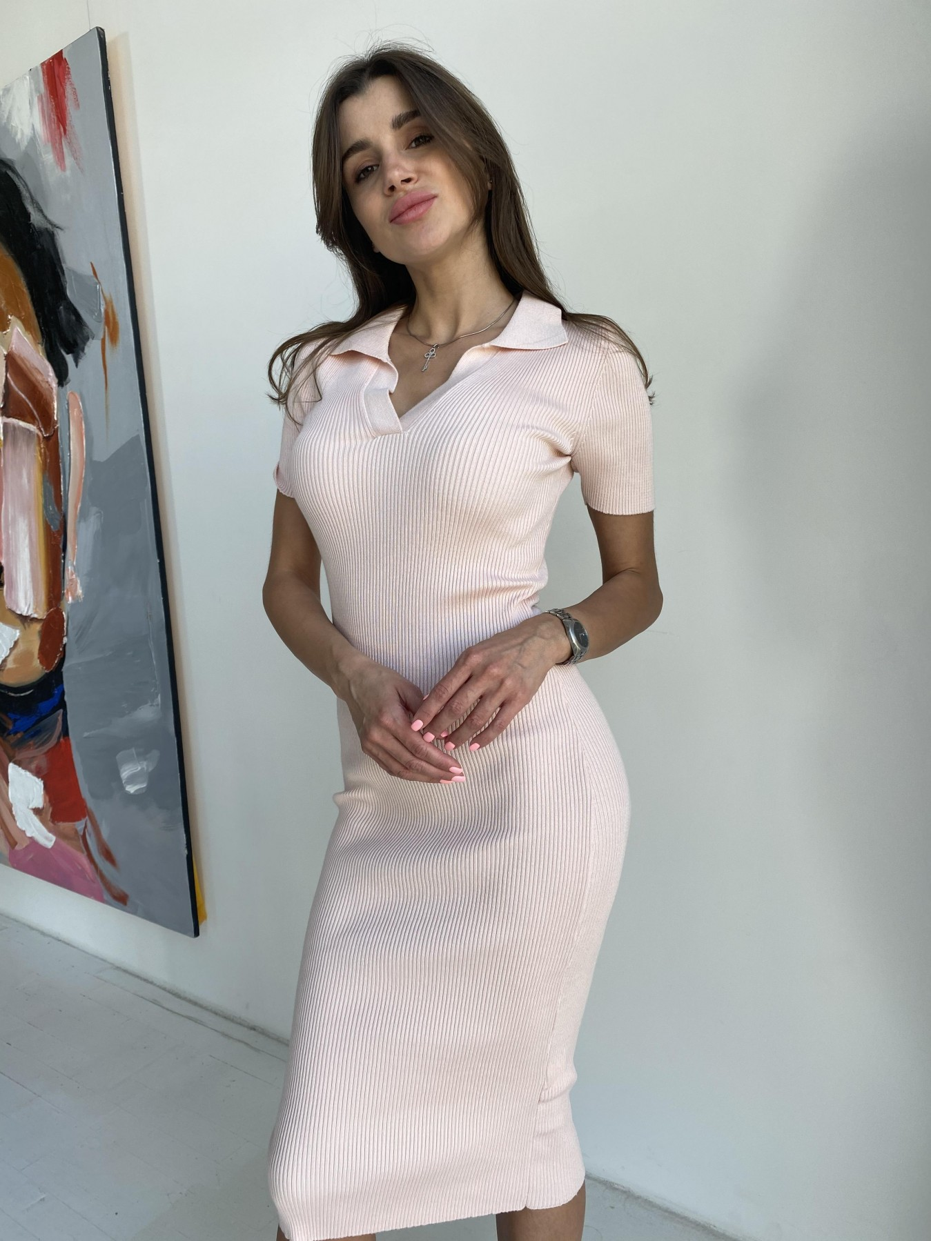 Платье воротник 91688 АРТ. 48068 Цвет: Пудра - фото 6, интернет магазин tm-modus.ru