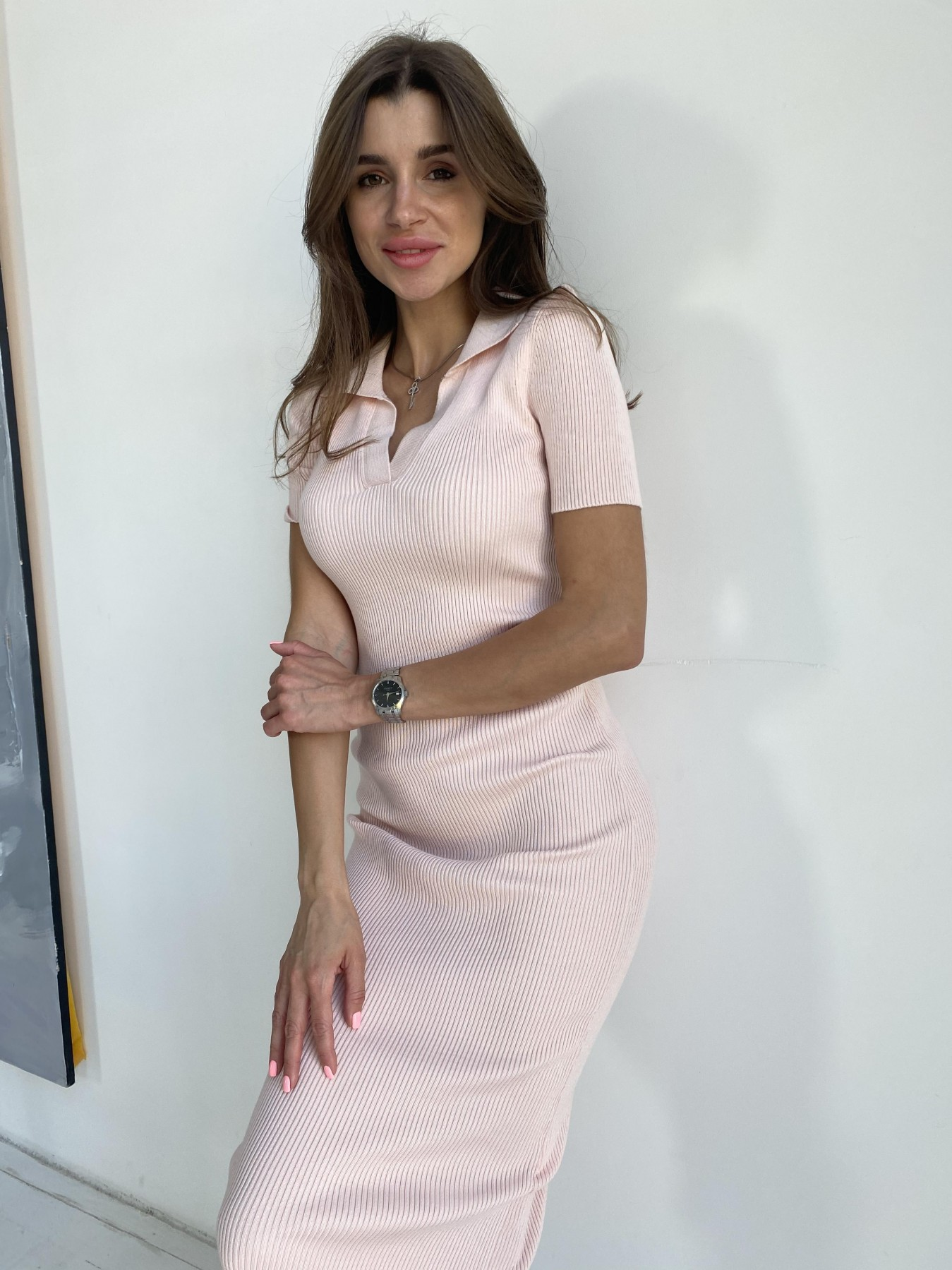 Платье воротник 91688 АРТ. 48068 Цвет: Пудра - фото 8, интернет магазин tm-modus.ru