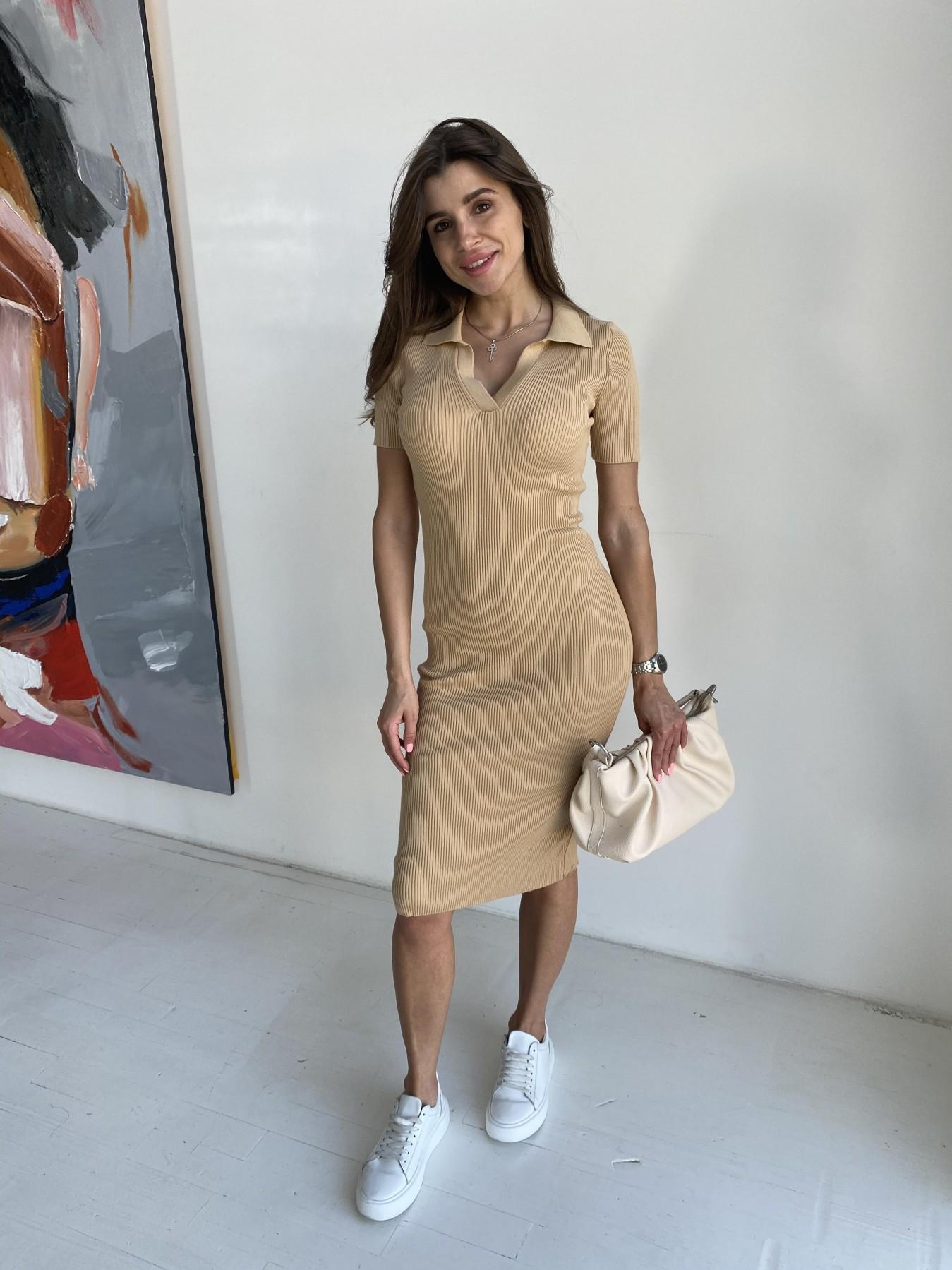 Платье воротник 91688 АРТ. 48065 Цвет: Кемел - фото 2, интернет магазин tm-modus.ru