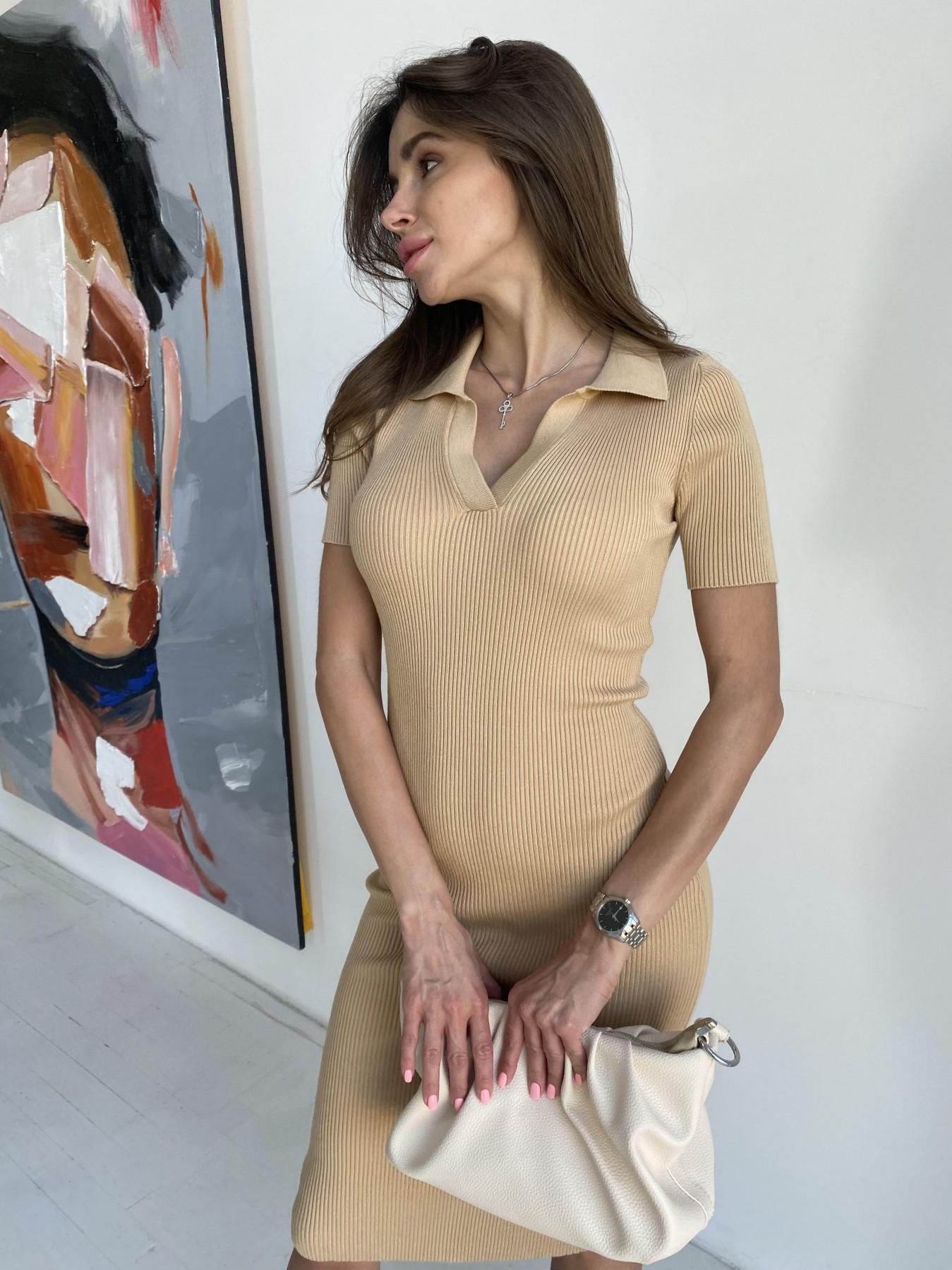 Платье воротник 91688 АРТ. 48065 Цвет: Кемел - фото 4, интернет магазин tm-modus.ru