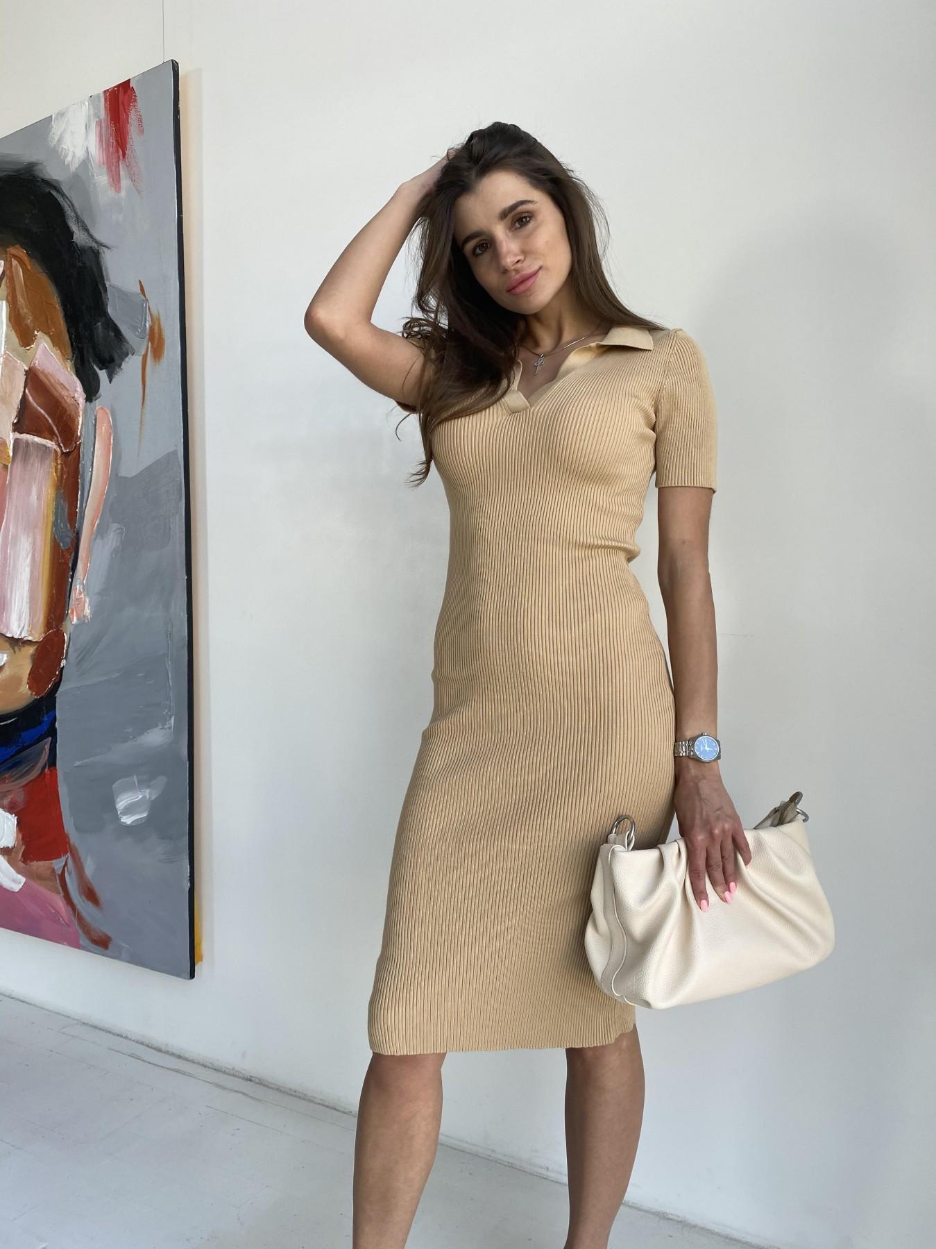 Платье воротник 91688 АРТ. 48065 Цвет: Кемел - фото 6, интернет магазин tm-modus.ru