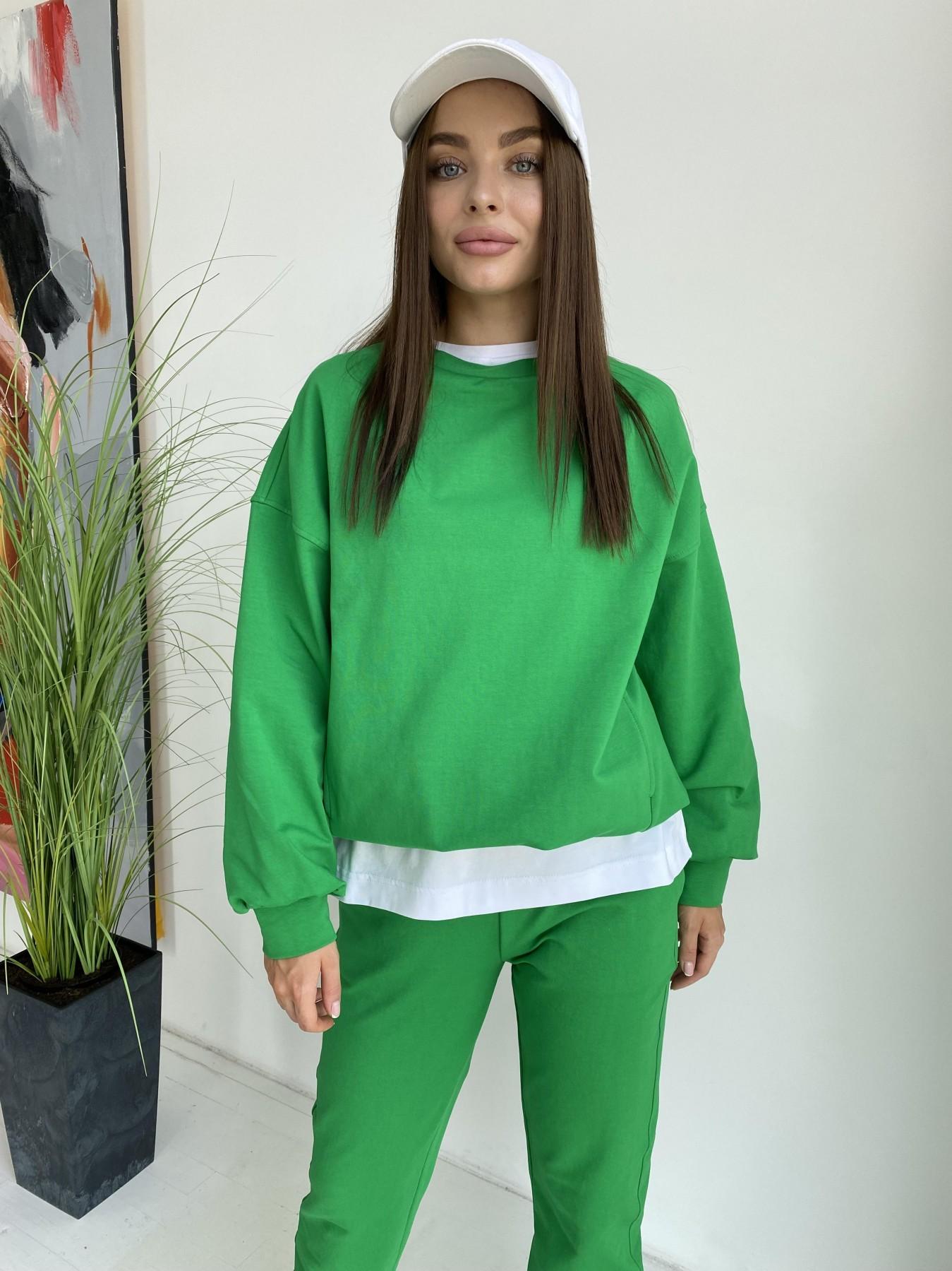 Фарт 4 костюм трикотажный 2х нитка из вискозы 11363 АРТ. 48020 Цвет: ЗеленыйТравка/Белый - фото 7, интернет магазин tm-modus.ru