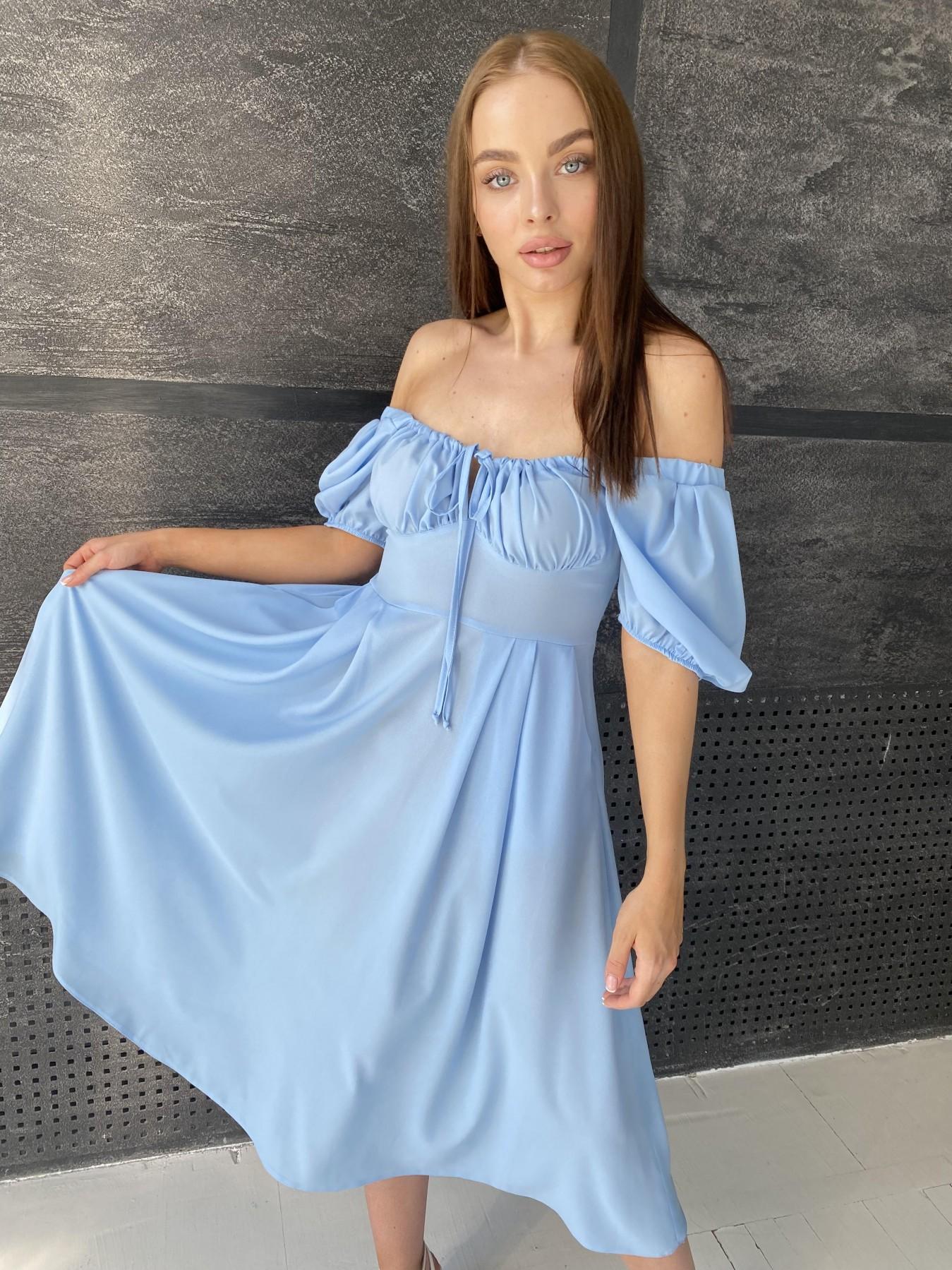 Кисес Миди платье из шифона креп 11443 АРТ. 48206 Цвет: Голубой 18 - фото 1, интернет магазин tm-modus.ru
