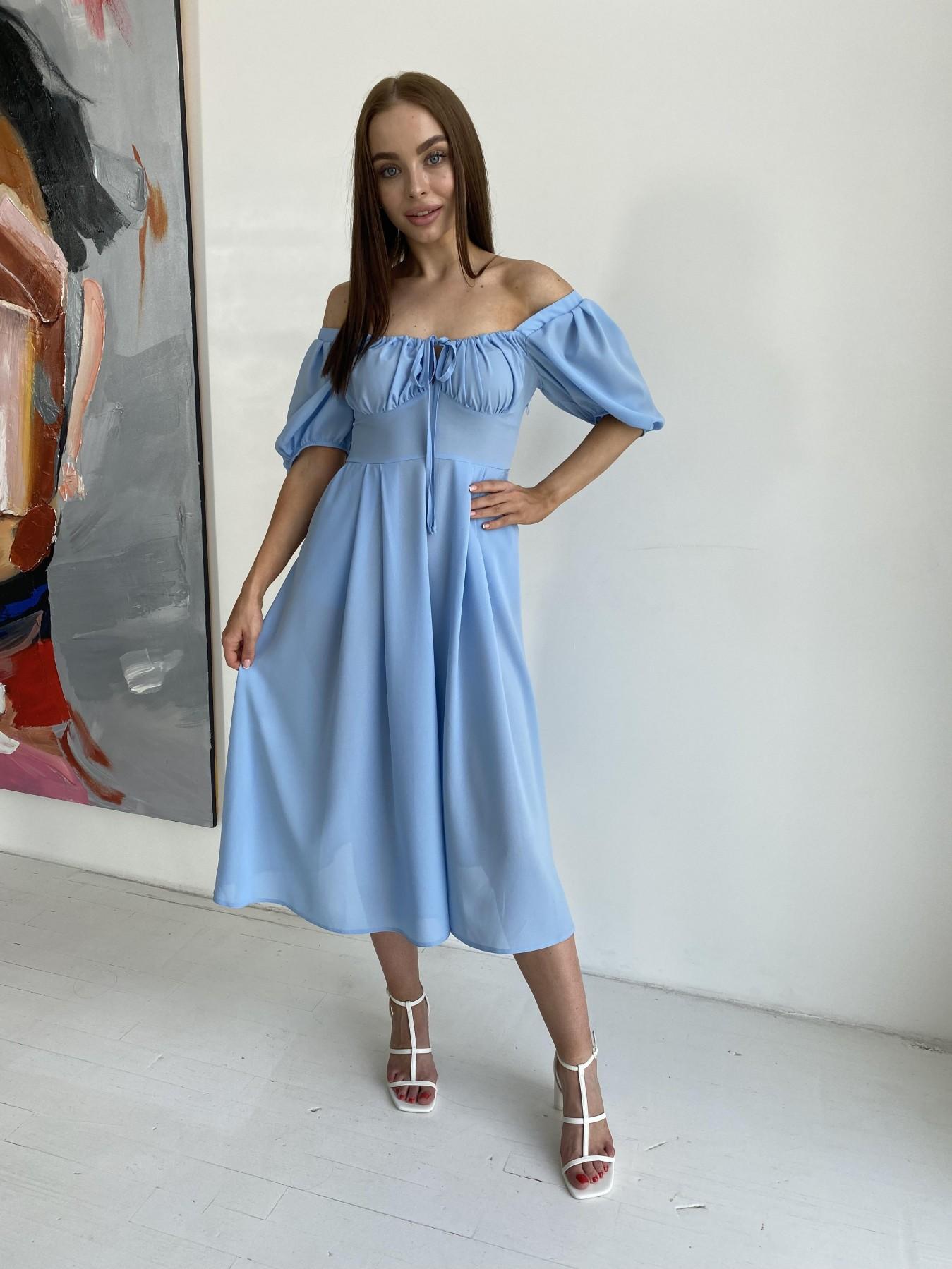 Кисес Миди платье из шифона креп 11443 АРТ. 48206 Цвет: Голубой 18 - фото 2, интернет магазин tm-modus.ru