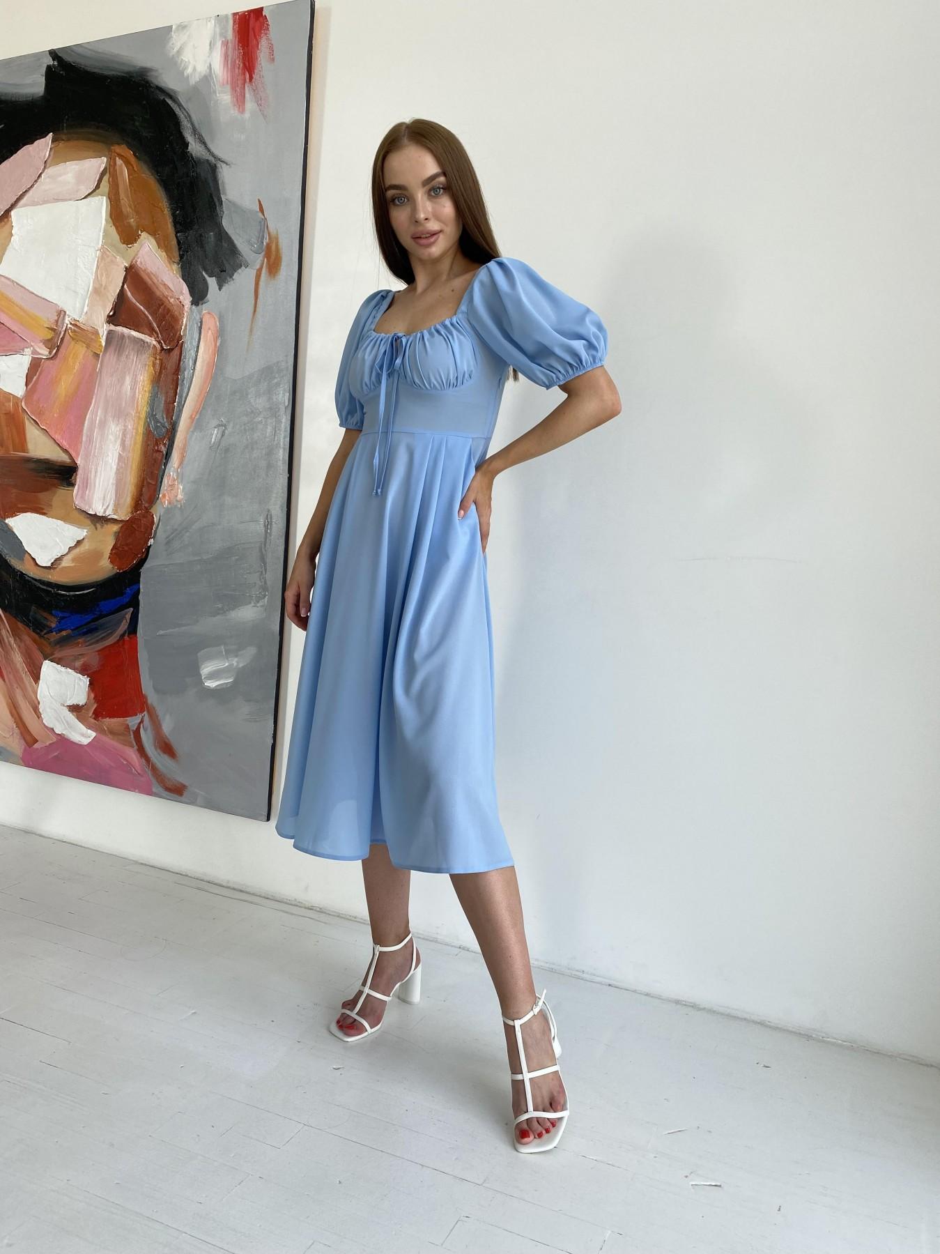 Кисес Миди платье из шифона креп 11443 АРТ. 48206 Цвет: Голубой 18 - фото 4, интернет магазин tm-modus.ru