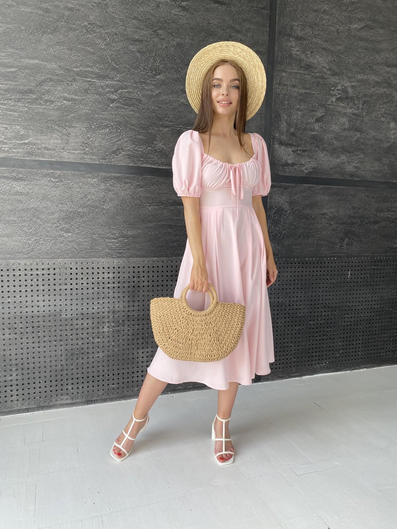 Кисес Миди платье  софт 11540 АРТ. 48193 Цвет: Пудра 13 - фото 3, интернет магазин tm-modus.ru