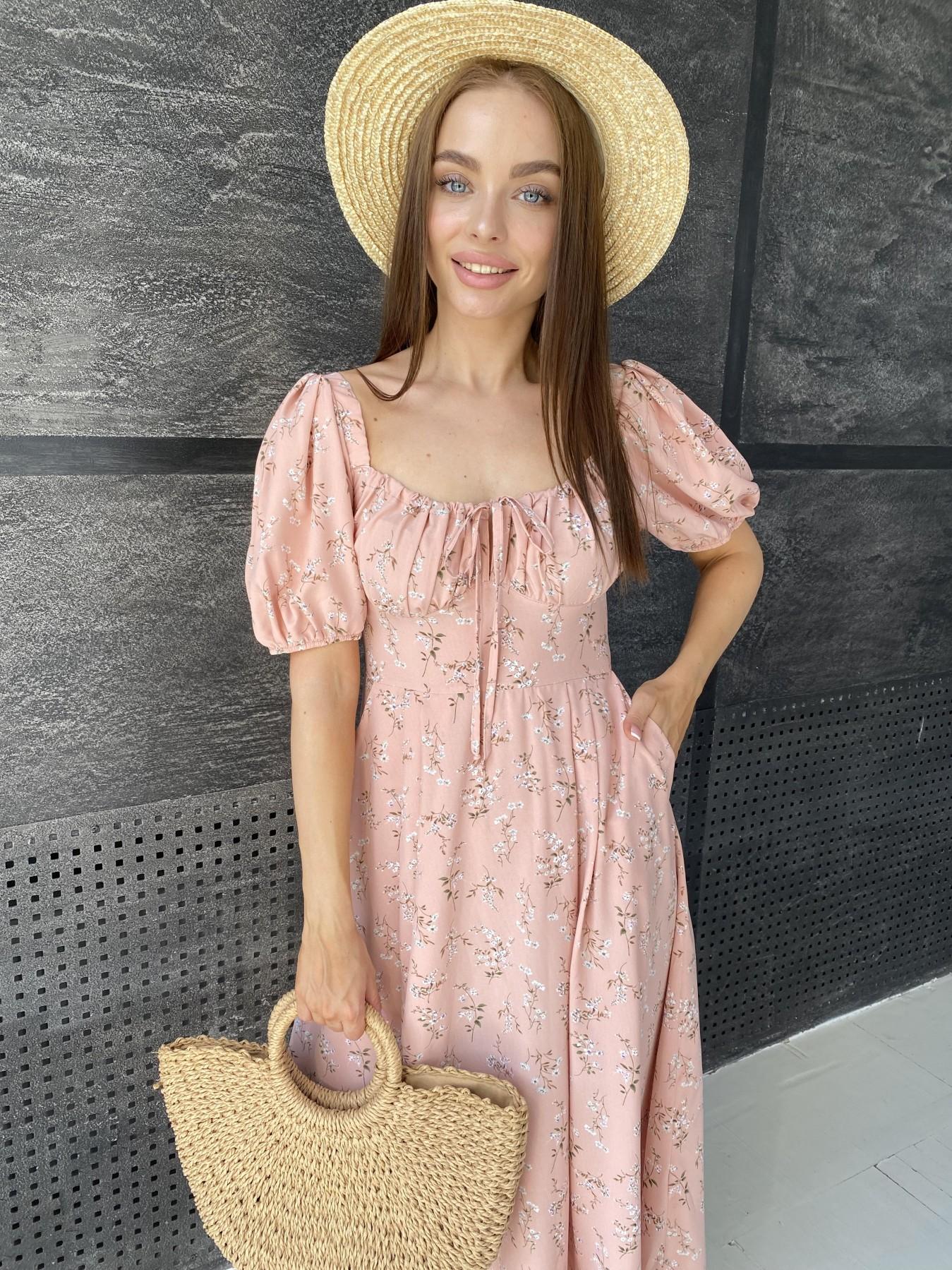 Кисес Миди платье из софт ткани в принт 11348 АРТ. 48150 Цвет: Пудра/букетики/бел/зел - фото 1, интернет магазин tm-modus.ru