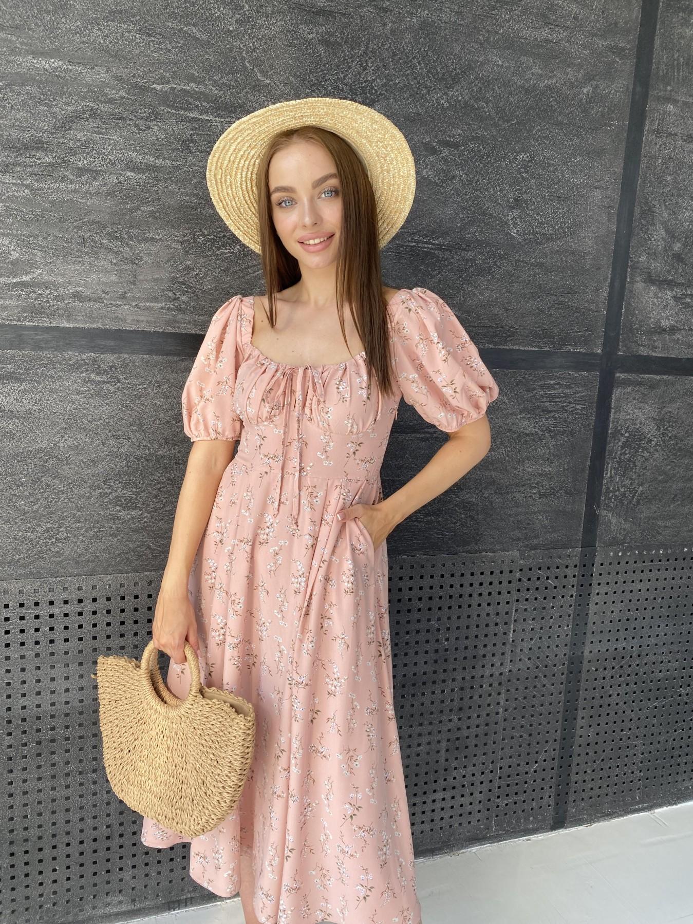 Кисес Миди платье из софт ткани в принт 11348 АРТ. 48150 Цвет: Пудра/букетики/бел/зел - фото 2, интернет магазин tm-modus.ru