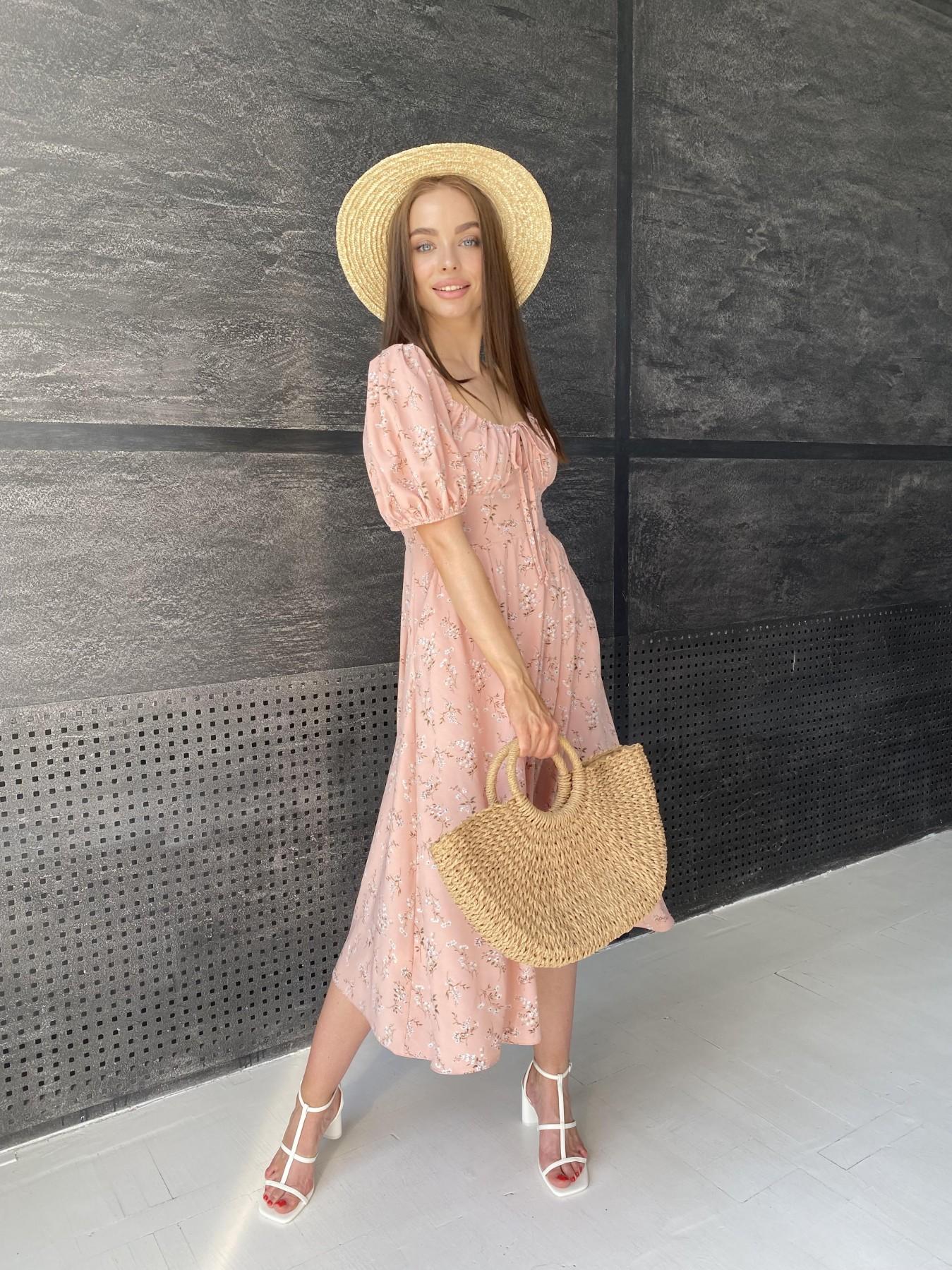 Кисес Миди платье из софт ткани в принт 11348 АРТ. 48150 Цвет: Пудра/букетики/бел/зел - фото 3, интернет магазин tm-modus.ru
