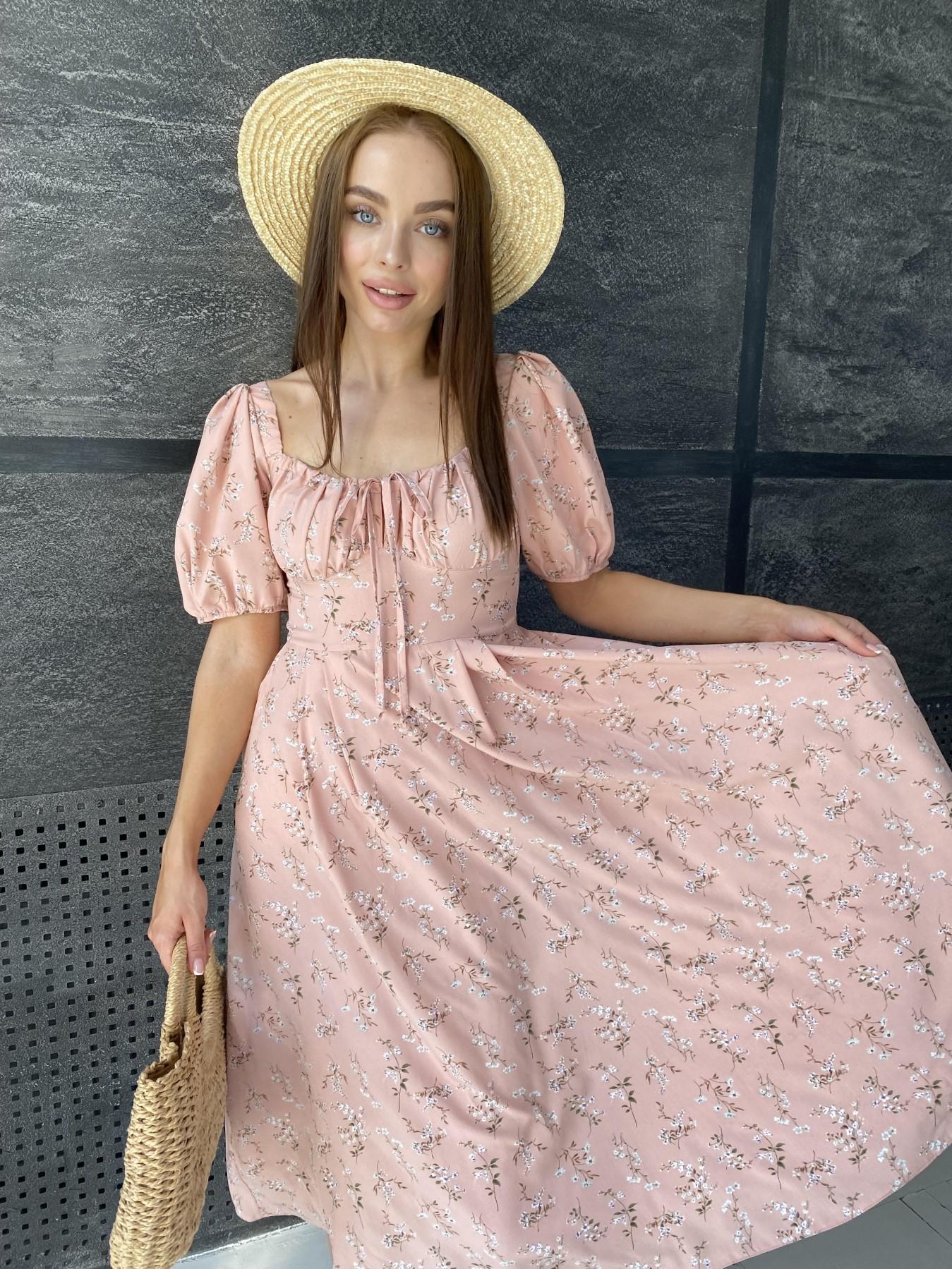 Кисес Миди платье из софт ткани в принт 11348 АРТ. 48150 Цвет: Пудра/букетики/бел/зел - фото 4, интернет магазин tm-modus.ru