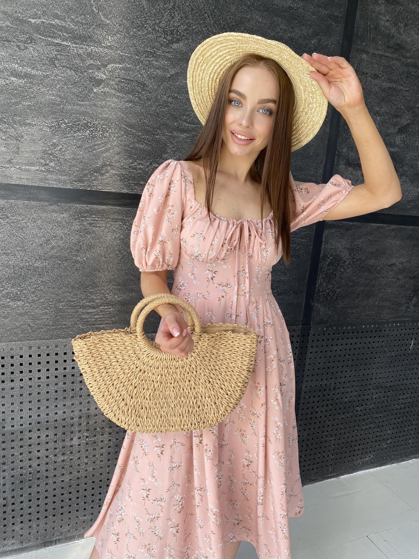 Кисес Миди платье из софт ткани в принт 11348 АРТ. 48150 Цвет: Пудра/букетики/бел/зел - фото 5, интернет магазин tm-modus.ru