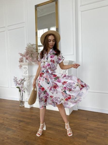"""Купить """"Санжар"""" платье  миди из софта в принт 11507 оптом и в розницу"""