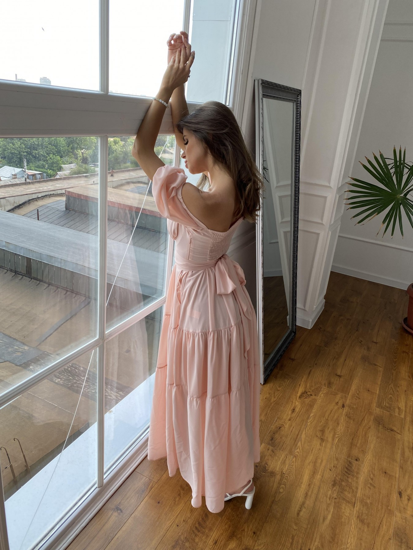 Сейшелы платье креп шифон 11519 АРТ. 48201 Цвет: Персик 17 - фото 9, интернет магазин tm-modus.ru