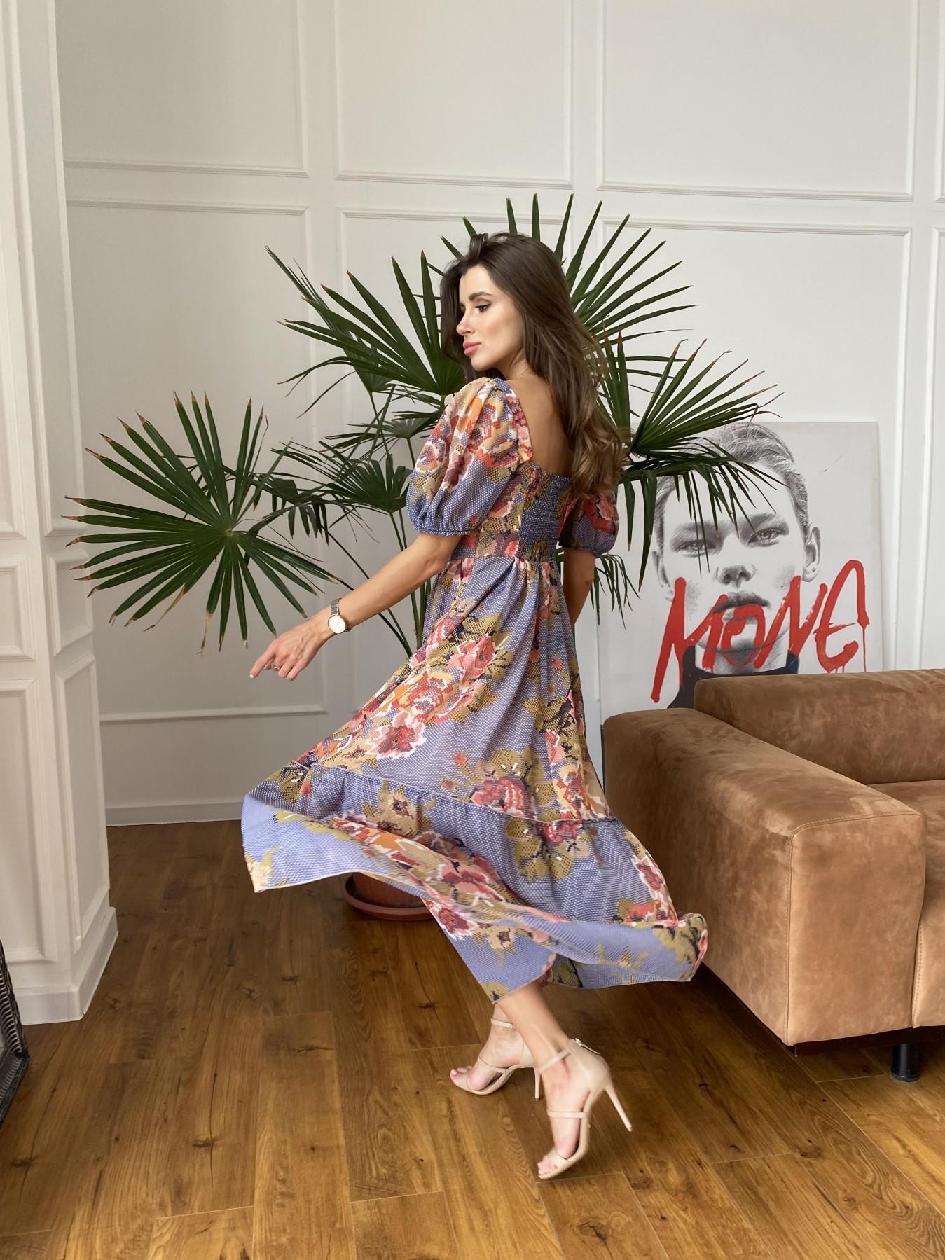 Лоретта платье из шифона в принт 11468 АРТ. 48251 Цвет: Т.син/беж вышивка - фото 4, интернет магазин tm-modus.ru