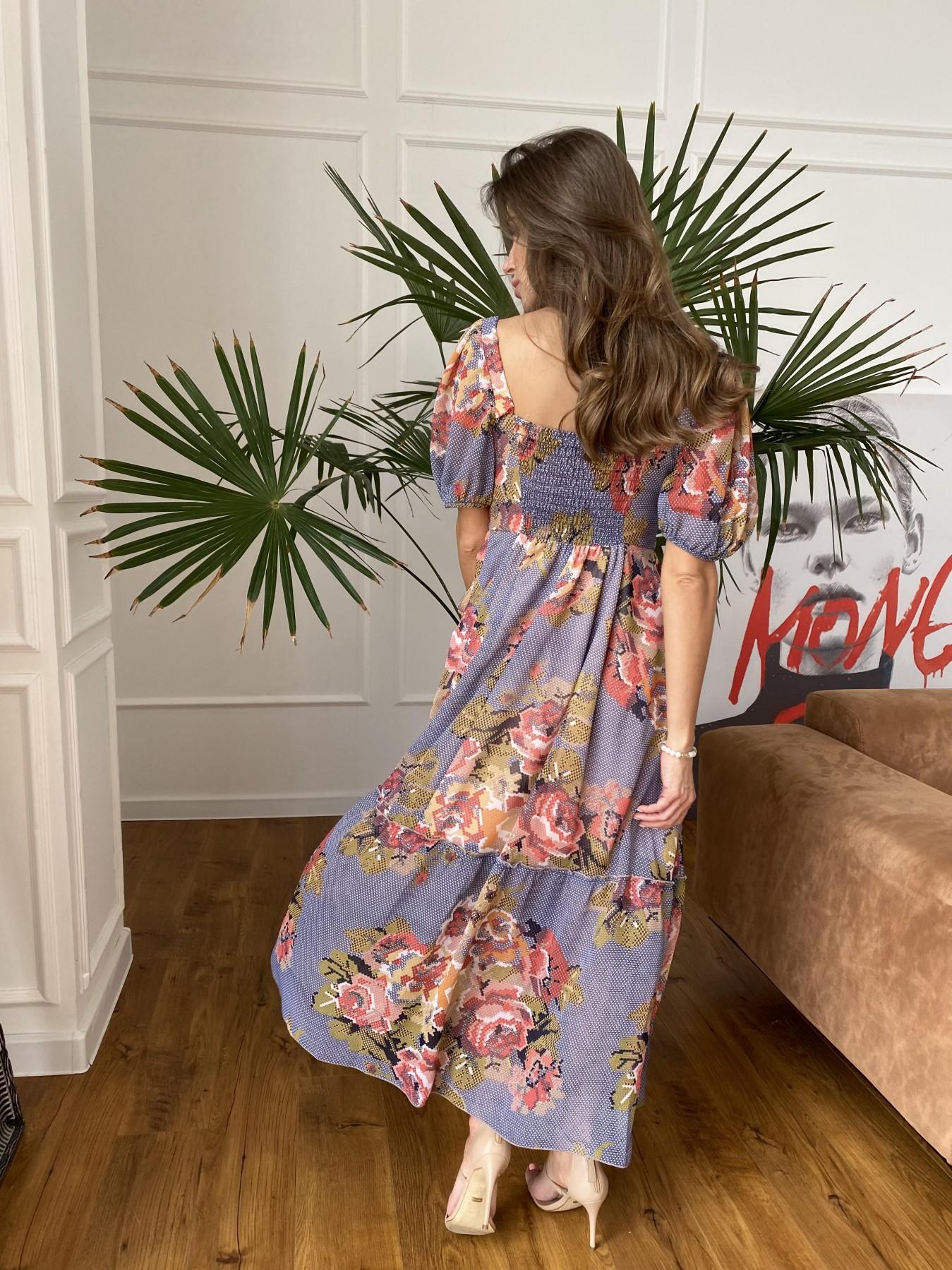 Лоретта платье из шифона в принт 11468 АРТ. 48251 Цвет: Т.син/беж вышивка - фото 5, интернет магазин tm-modus.ru