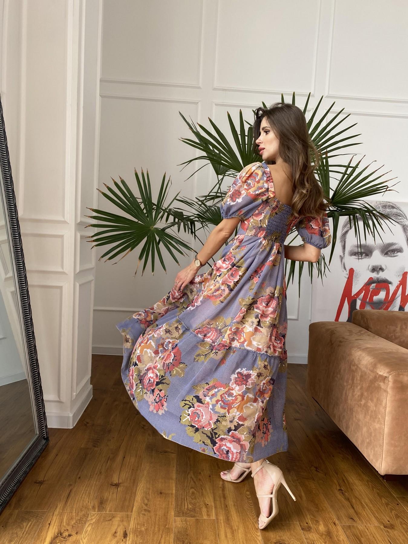 Лоретта платье из шифона в принт 11468 АРТ. 48251 Цвет: Т.син/беж вышивка - фото 6, интернет магазин tm-modus.ru