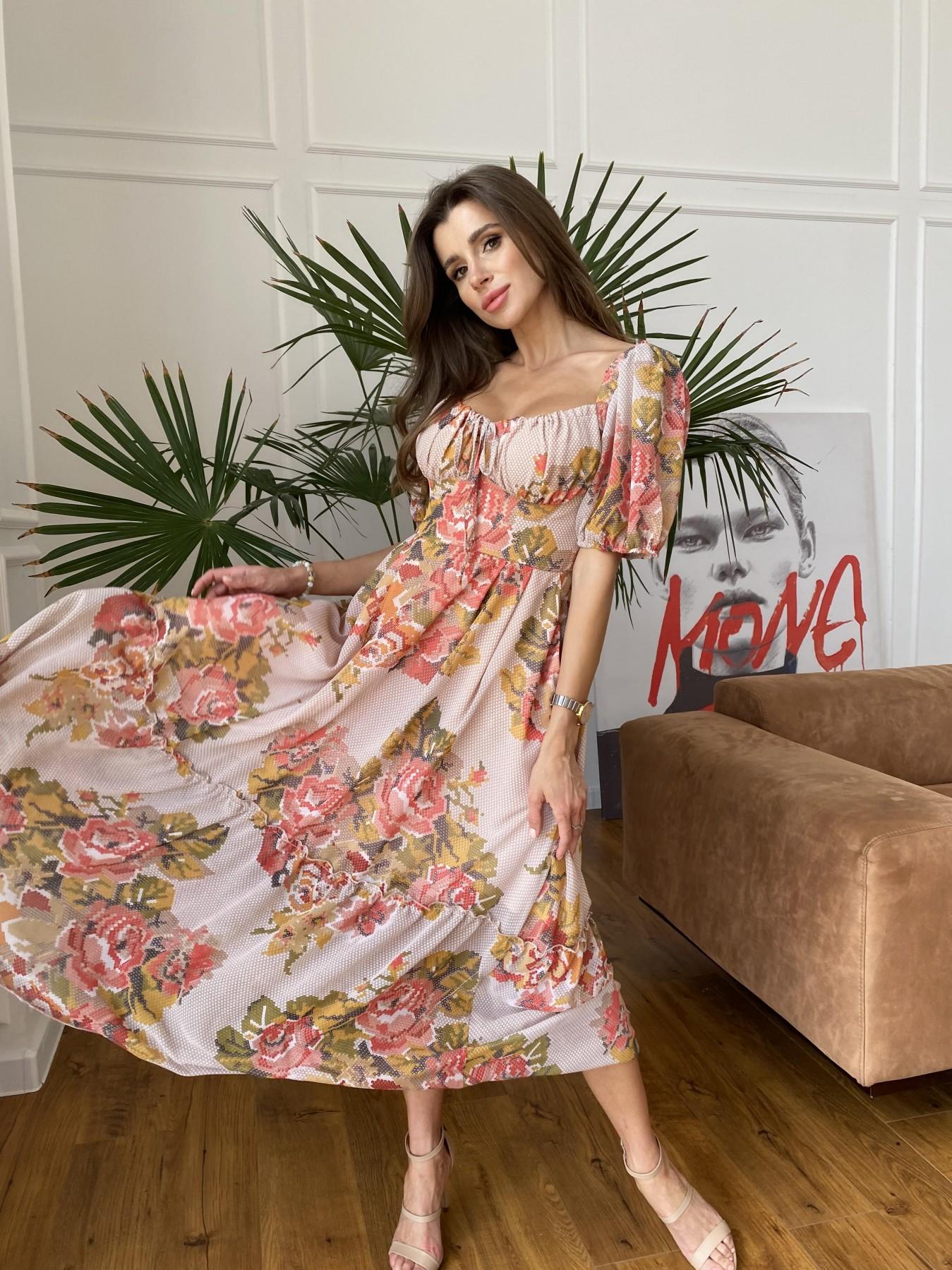 Лоретта платье из шифона в принт 11468 АРТ. 48252 Цвет: Беж.Св/Беж вышивка - фото 2, интернет магазин tm-modus.ru