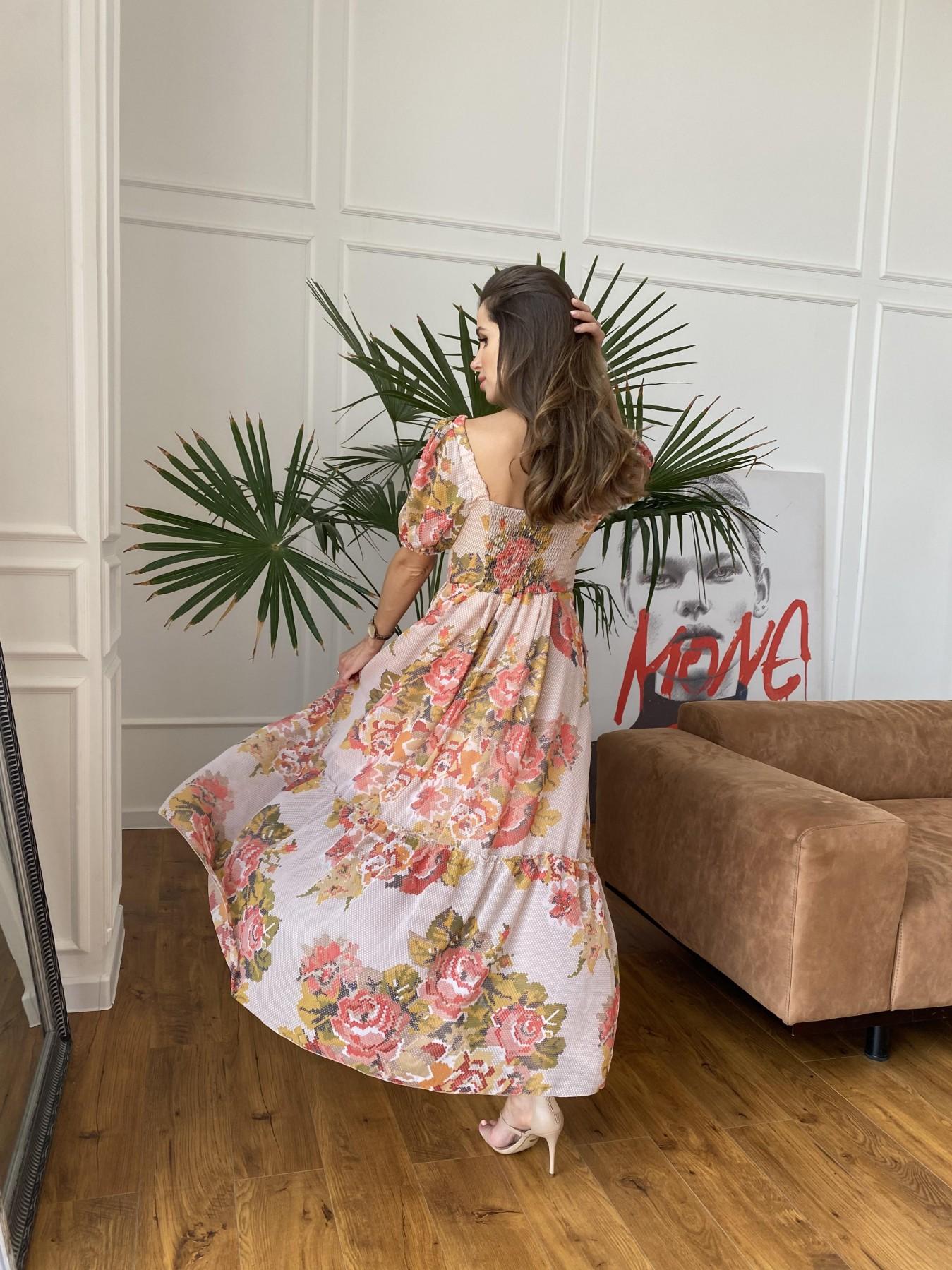 Лоретта платье из шифона в принт 11468 АРТ. 48252 Цвет: Беж.Св/Беж вышивка - фото 3, интернет магазин tm-modus.ru